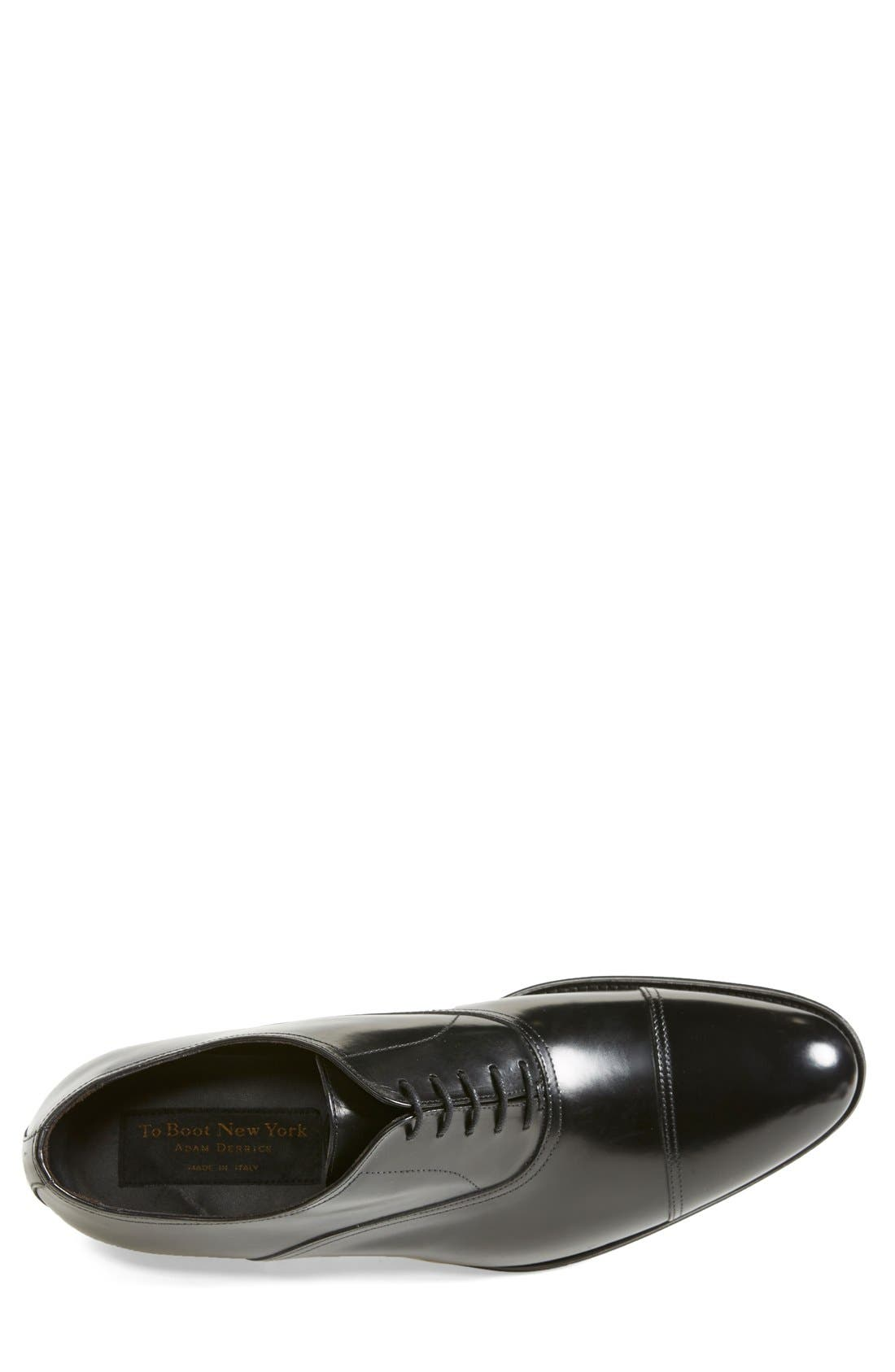 TO BOOT NEW YORK, Brandon Cap Toe Oxford, Alternate thumbnail 4, color, BLACK LEATHER