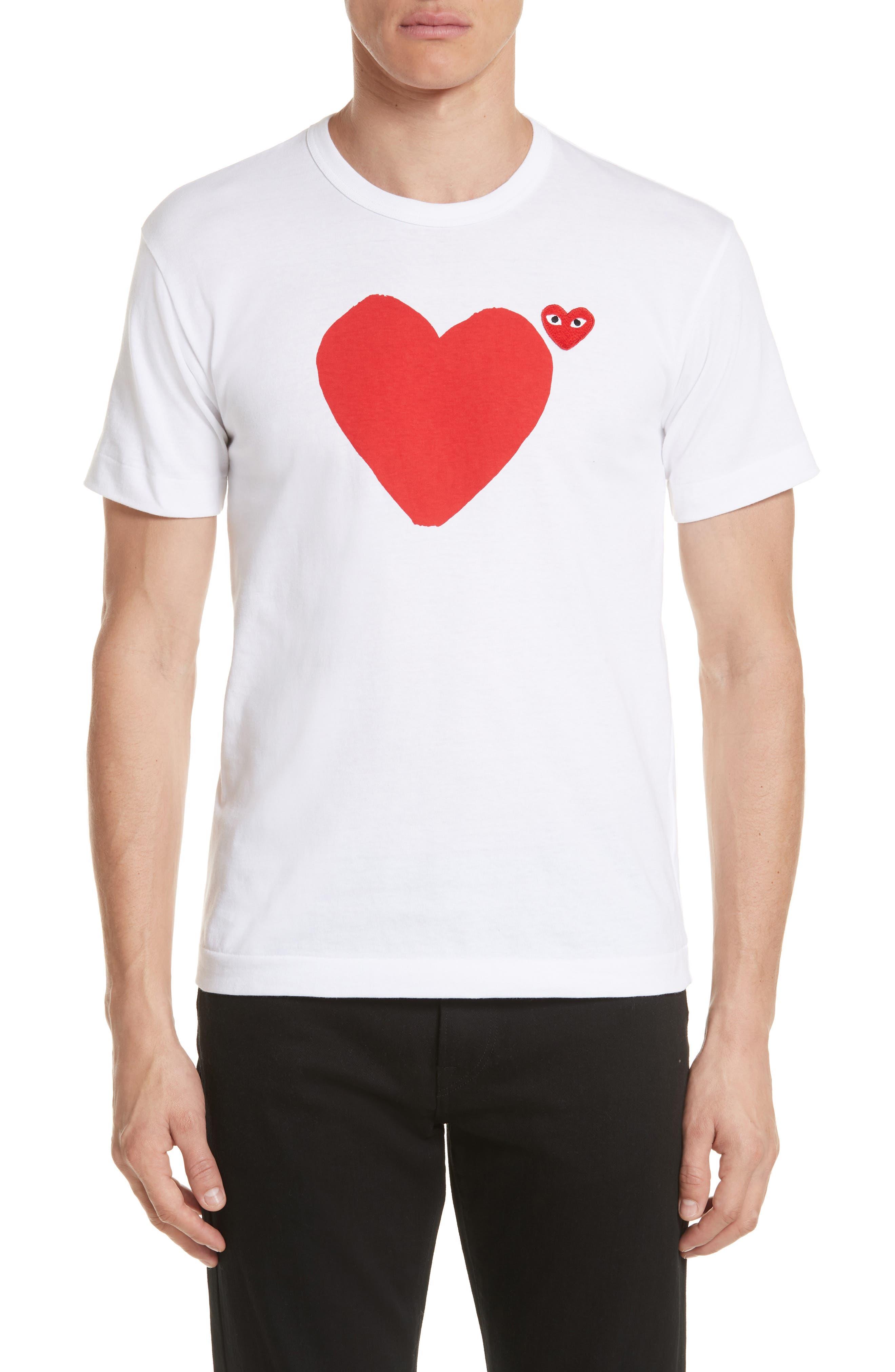 COMME DES GARÇONS PLAY, Graphic T-Shirt, Alternate thumbnail 2, color, WHITE 1