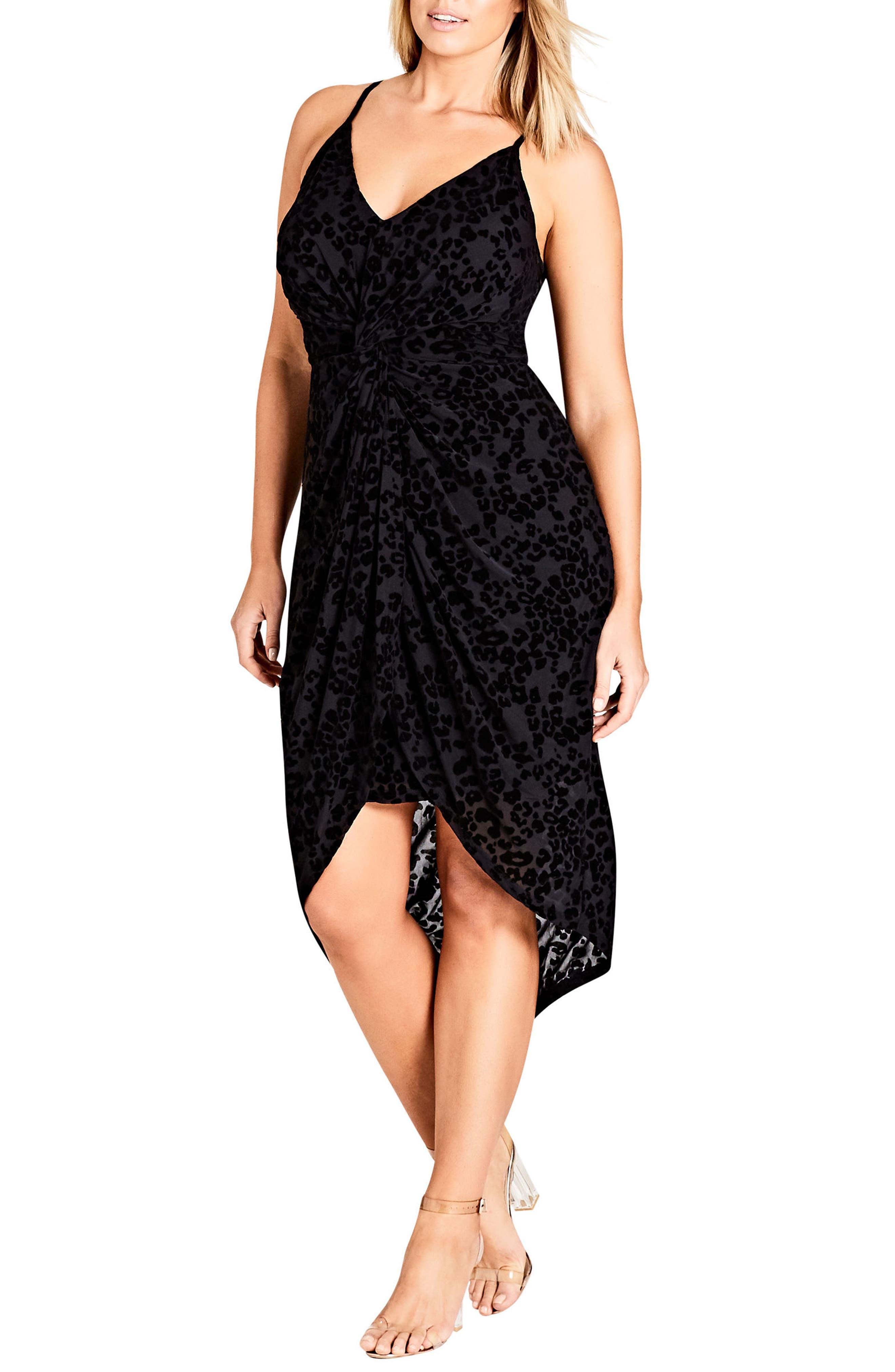 CITY CHIC Mod Drape Dress, Main, color, BLACK