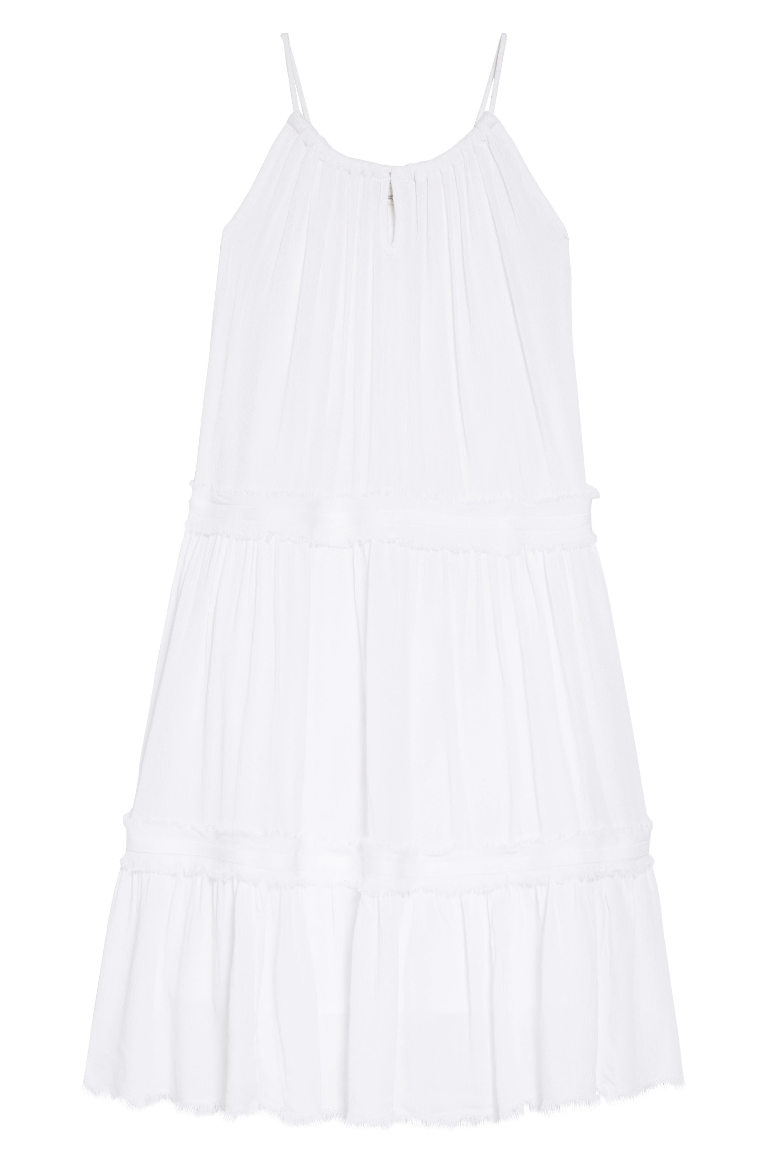 TUCKER + TATE Gauzy Tiered Sundress, Main, color, WHITE