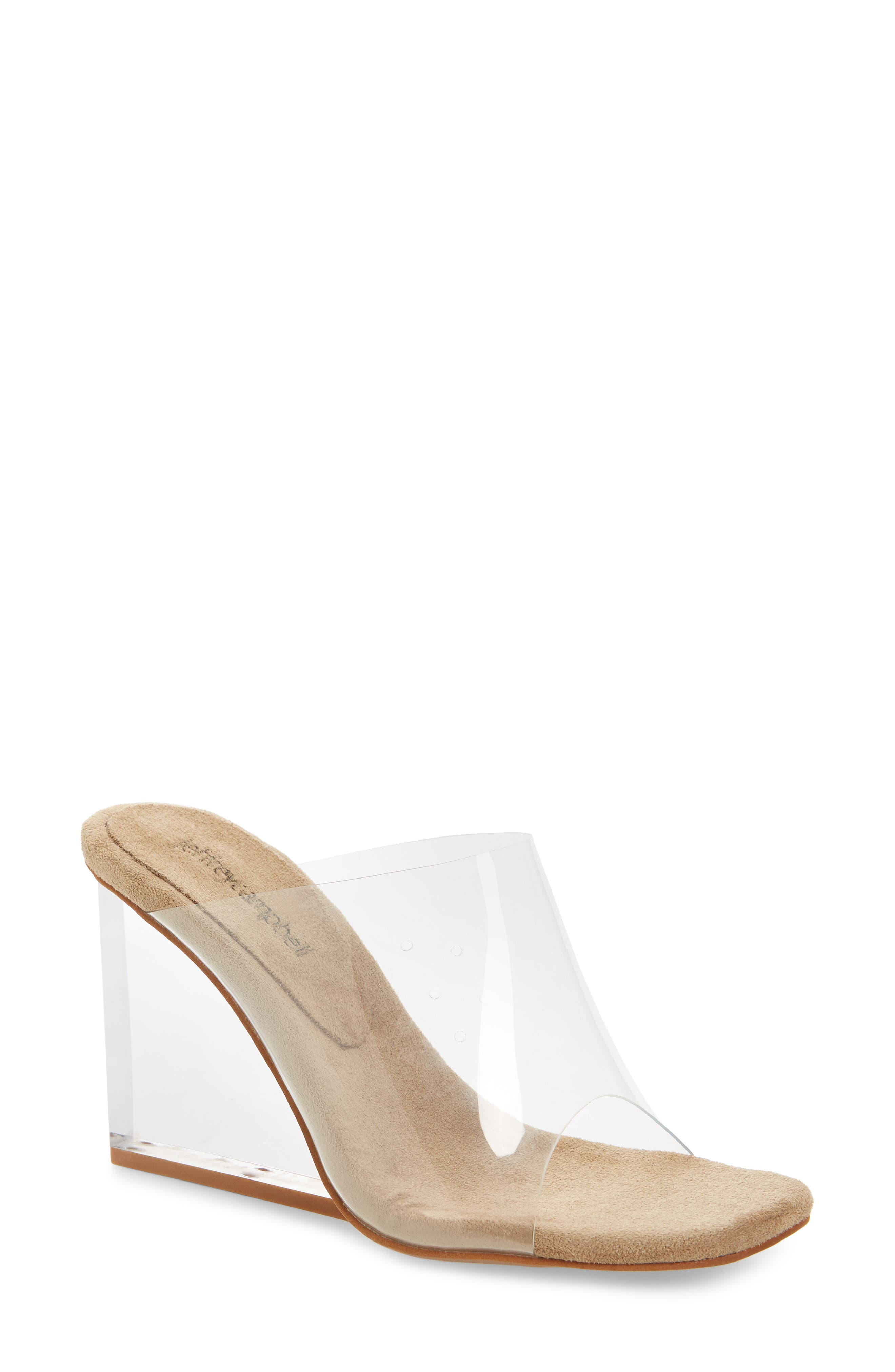 JEFFREY CAMPBELL, Clear Wedge Mule, Main thumbnail 1, color, CLEAR FAUX LEATHER