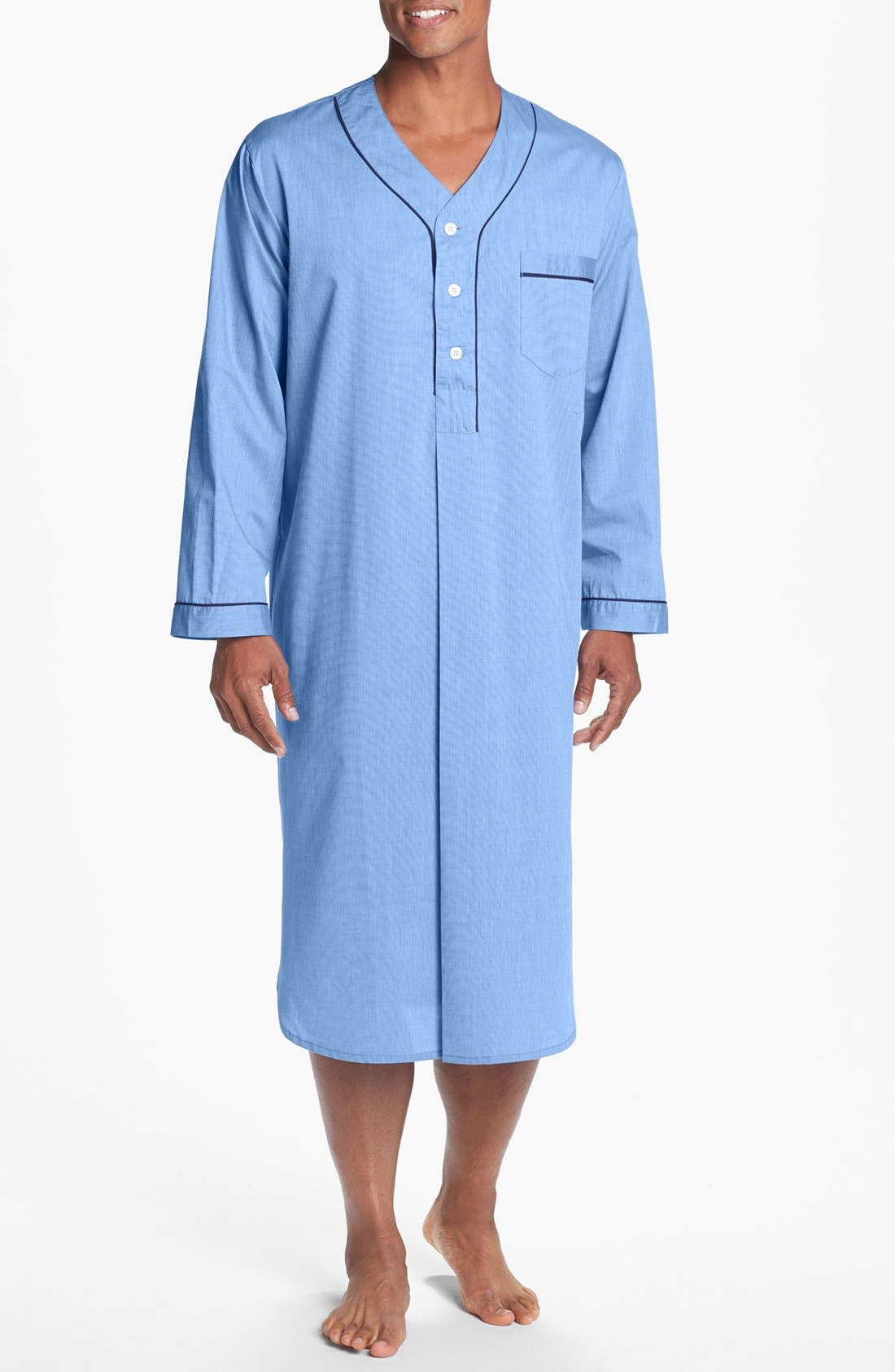MAJESTIC INTERNATIONAL, Cotton Nightshirt, Main thumbnail 1, color, BLUE