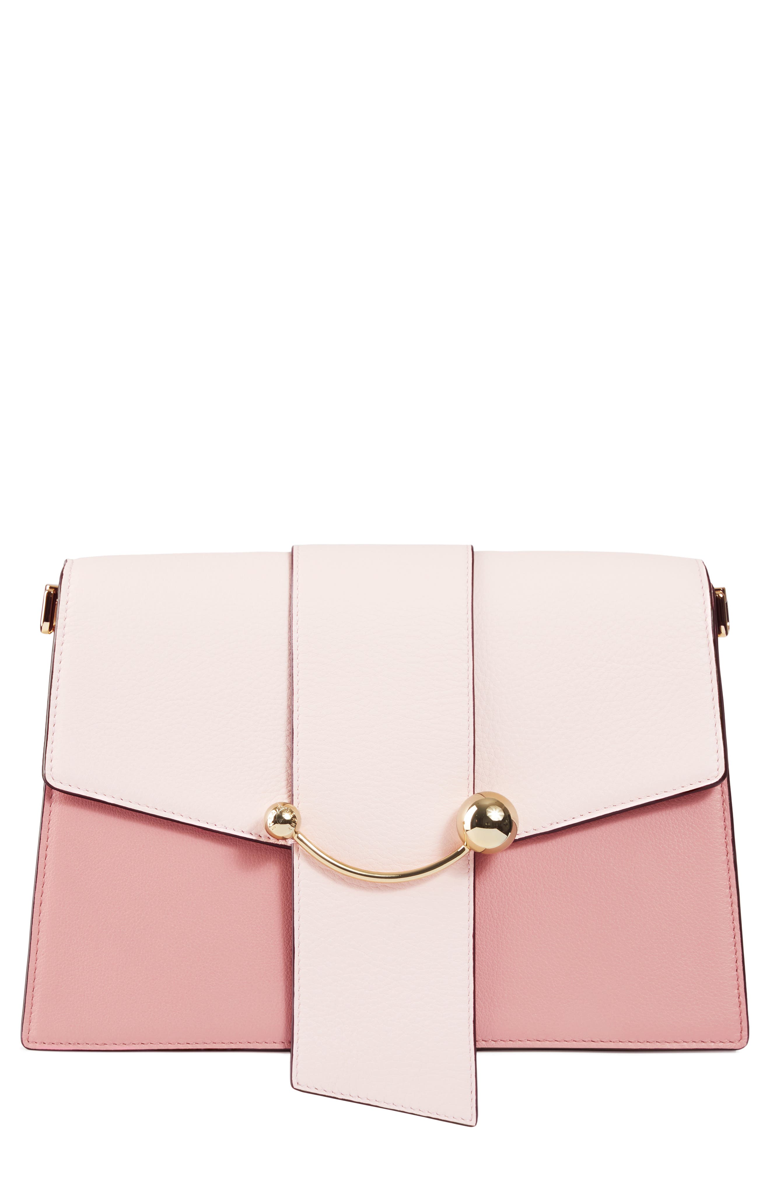 STRATHBERRY Mini Crescent Leather Clutch, Main, color, BABY PINK/ ROSE/ BURGUNDY