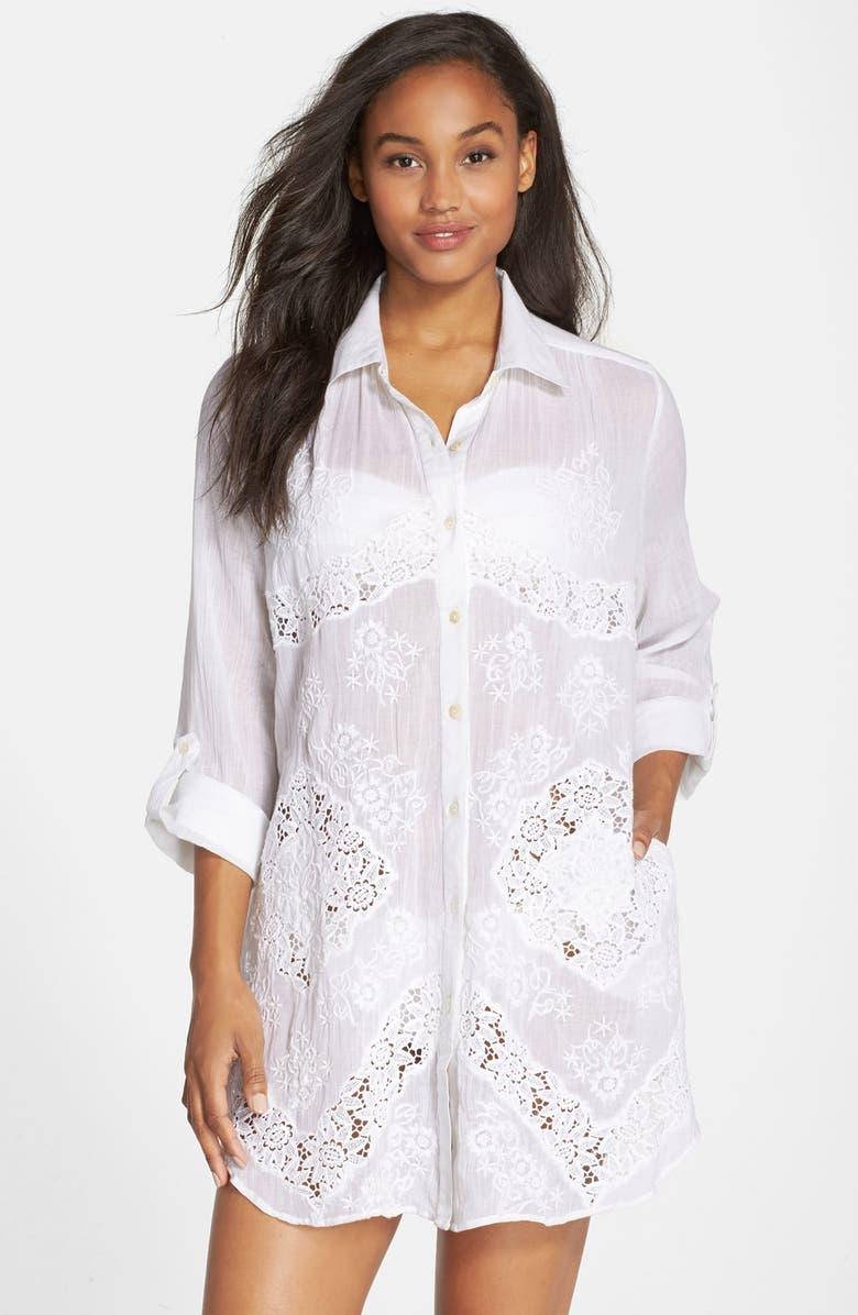 48db7b7904 AMITA NAITHANI Lace Inset Cover-Up Shirt, Main, color, 100