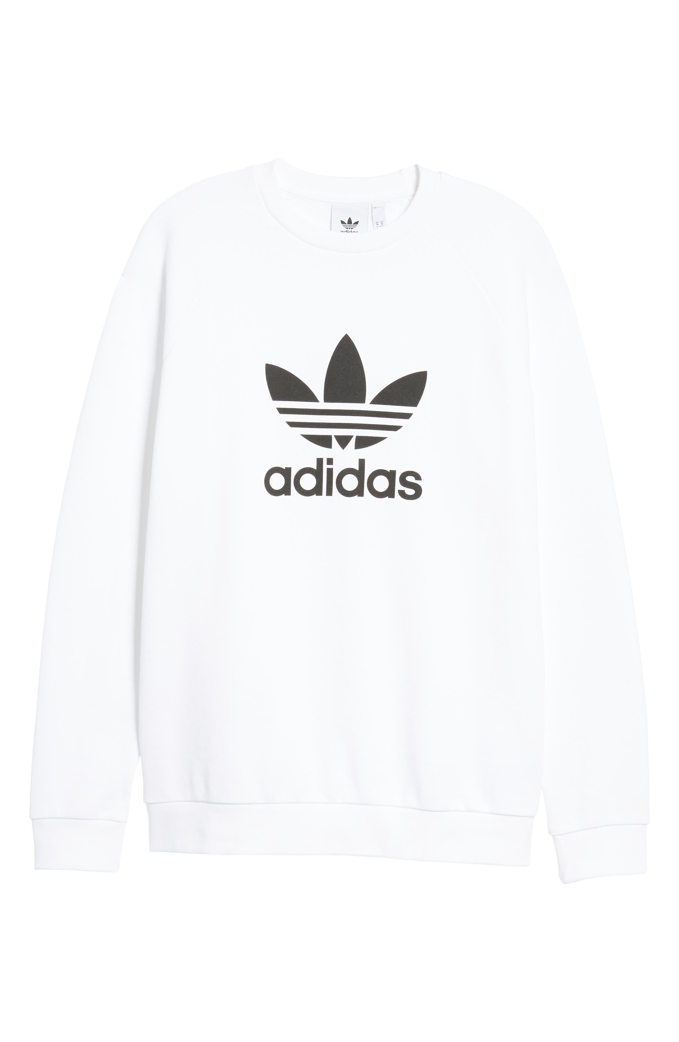 ADIDAS ORIGINALS, Trefoil Sweatshirt, Alternate thumbnail 6, color, WHITE