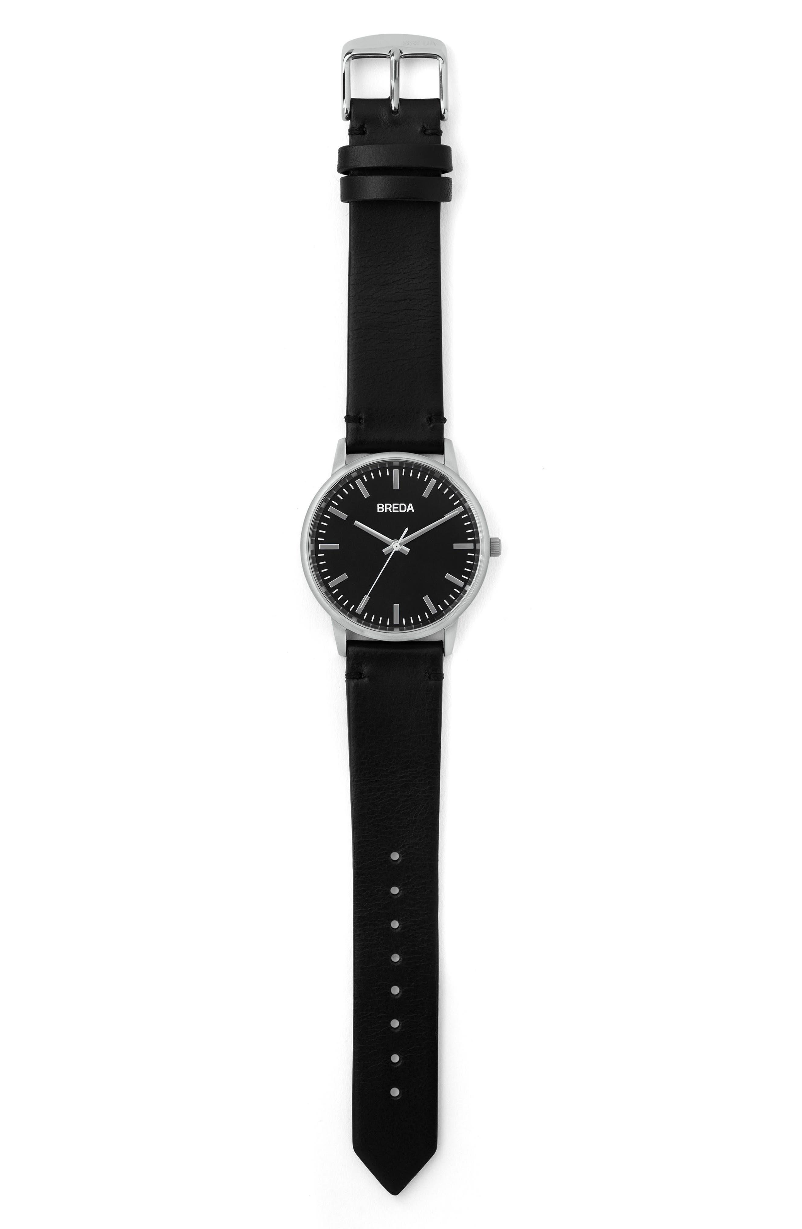 BREDA, Zapf Leather Strap Watch, 39mm, Alternate thumbnail 3, color, 001