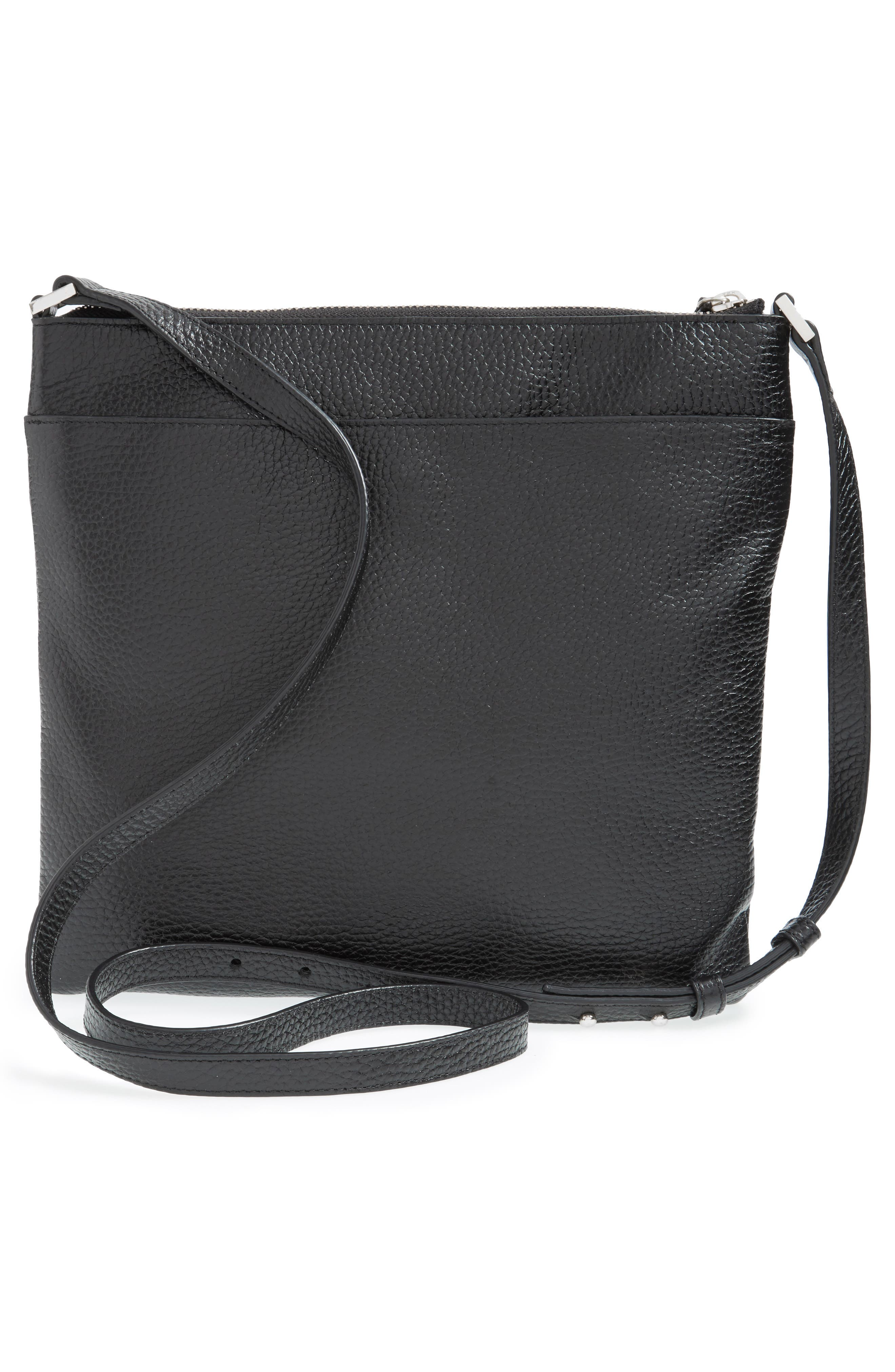 HALOGEN<SUP>®</SUP>, Tasseled Leather Crossbody Bag, Alternate thumbnail 4, color, 001