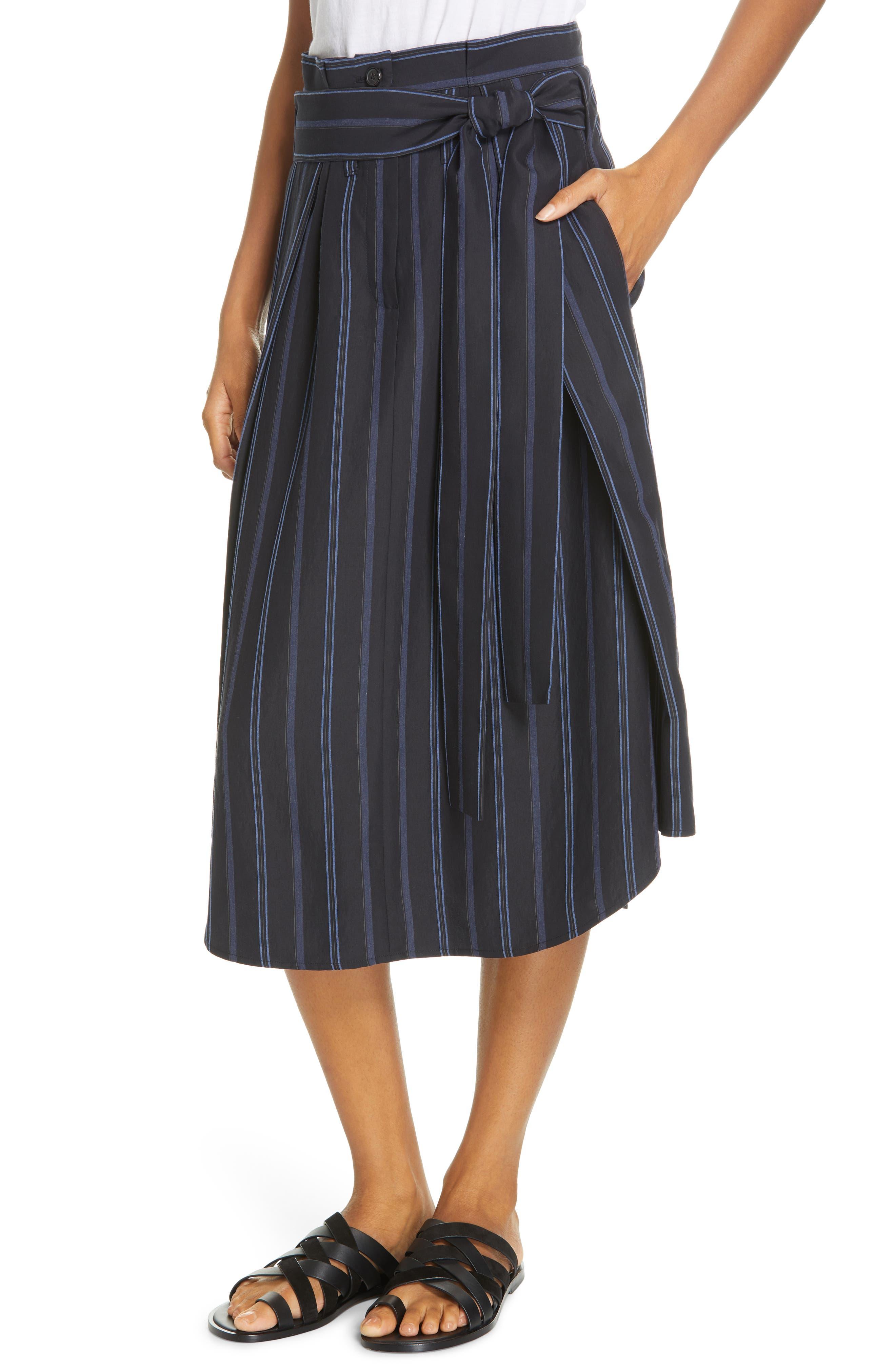 VINCE, Dobby Stripe Belted Skirt, Alternate thumbnail 4, color, INDIGO