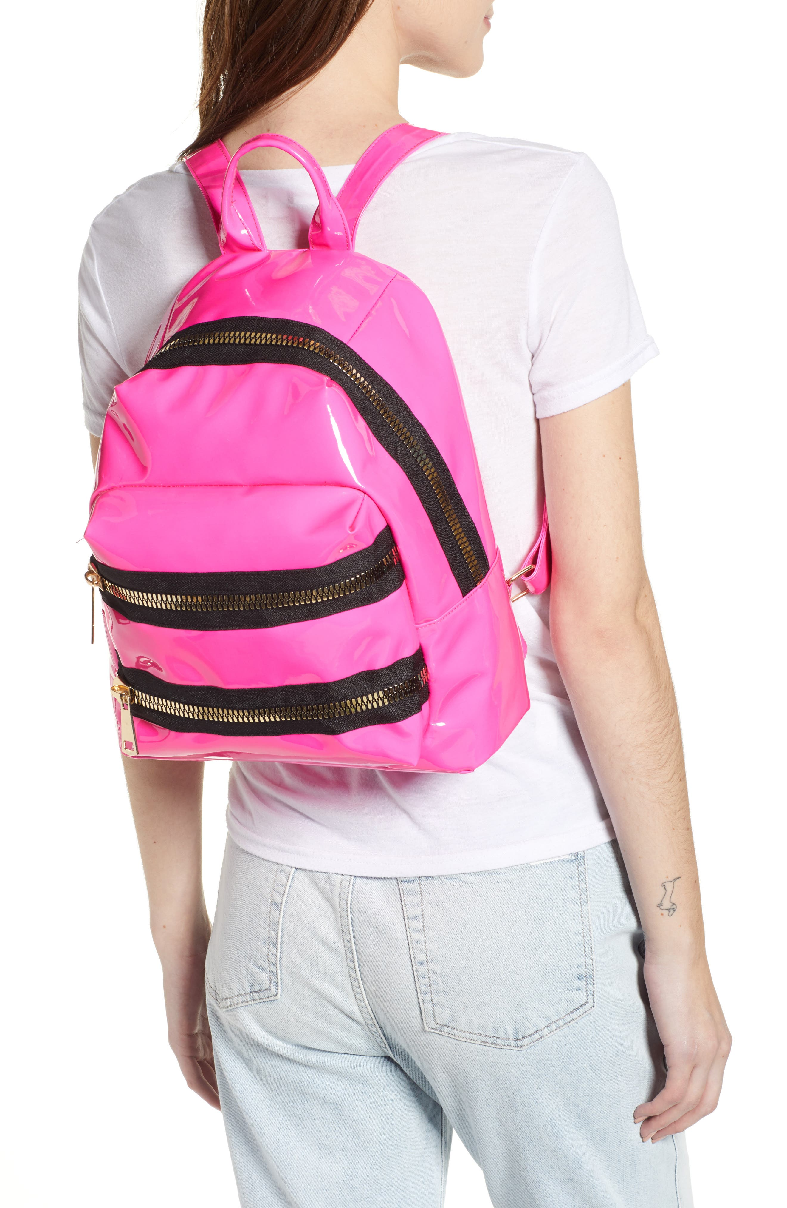 JANE & BERRY, Double Zip Faux Patent Leather Backpack, Alternate thumbnail 2, color, PINK