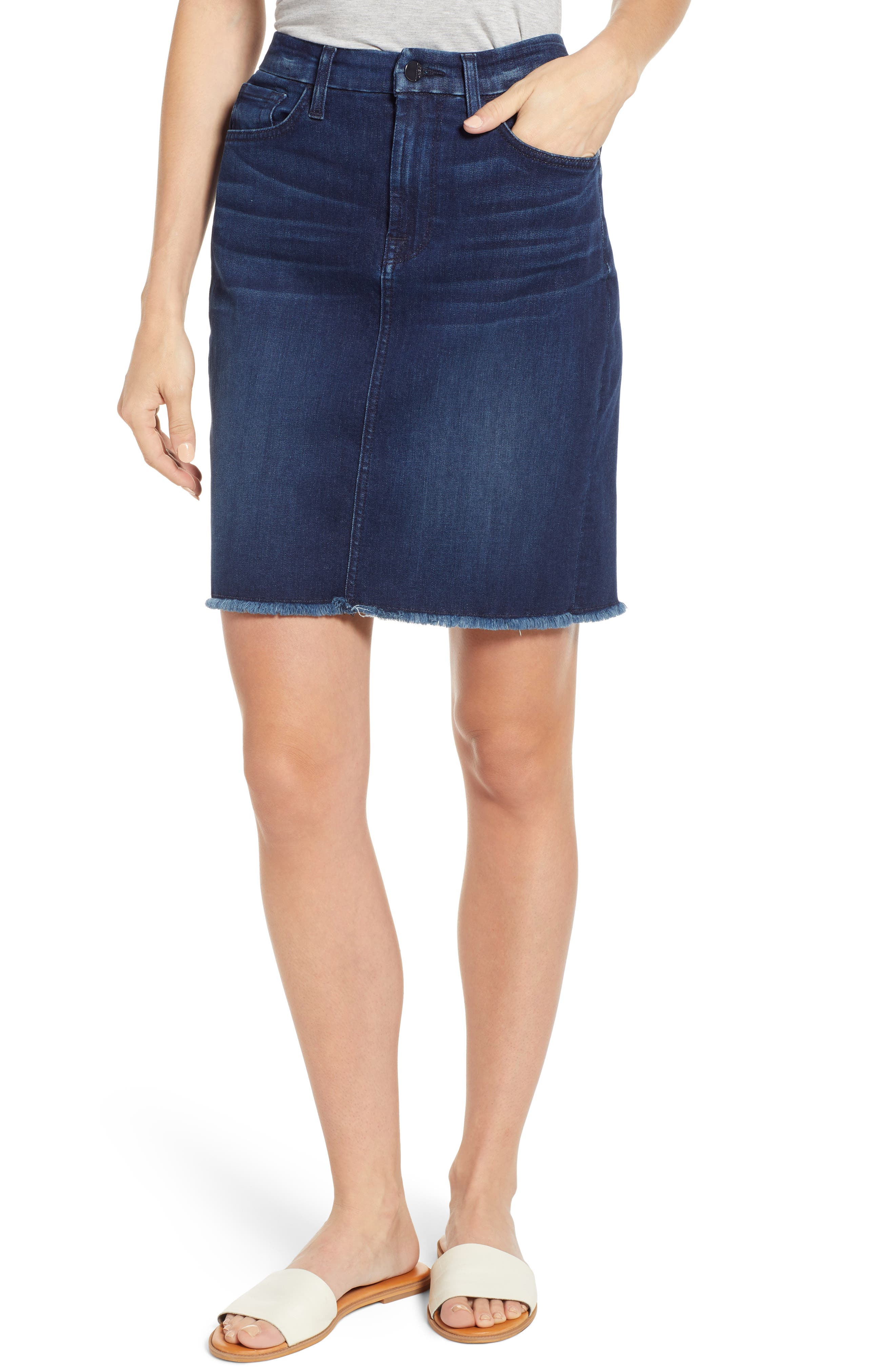 JEN7 BY 7 FOR ALL MANKIND, Raw Hem Denim Pencil Skirt, Main thumbnail 1, color, IMPERIAL INDIGO
