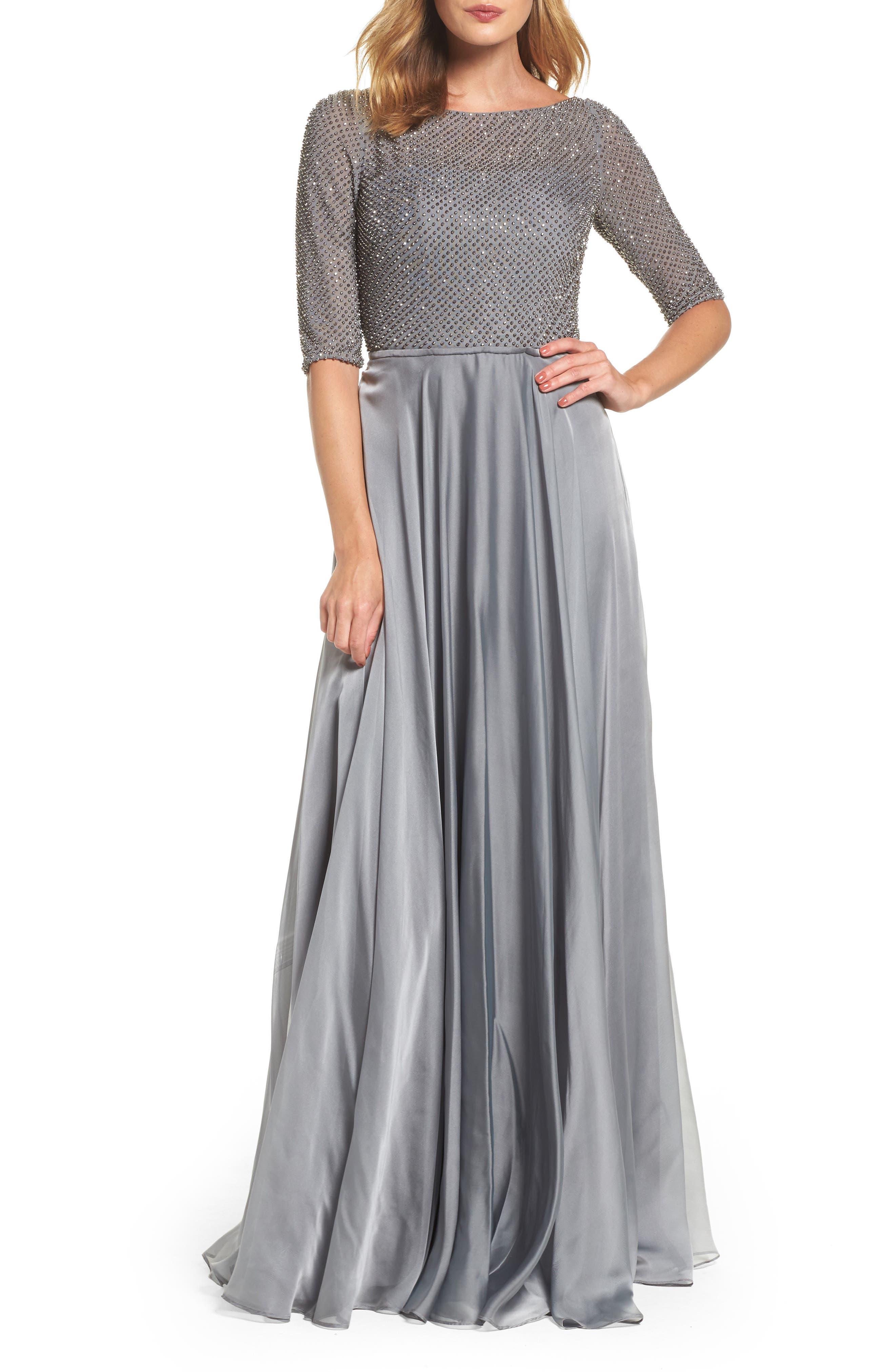 LA FEMME Embellished Bodice Gown, Main, color, PLATINUM