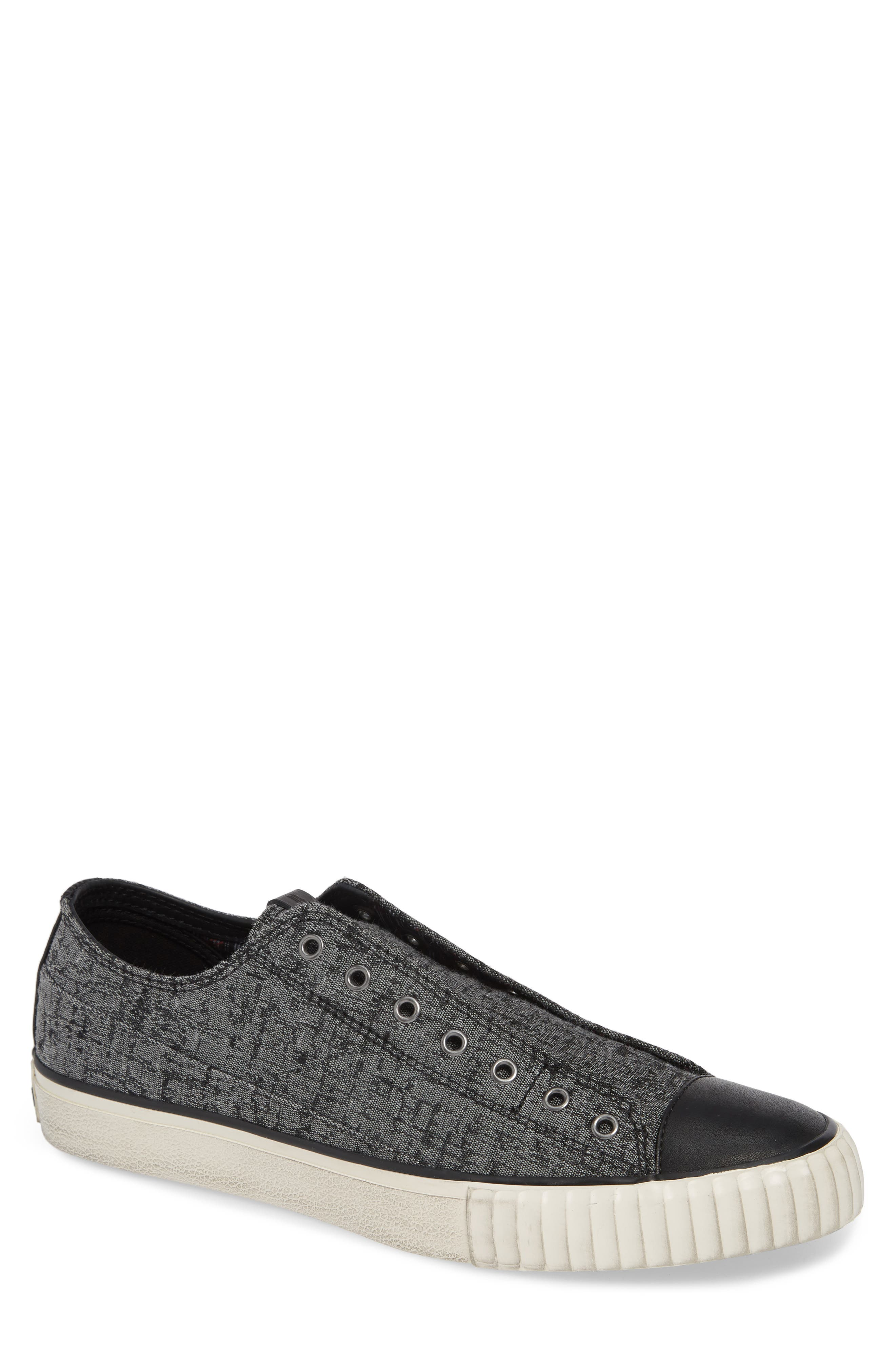 BOOTLEG BY JOHN VARVATOS, John Varvatos Star USA Bootleg Laceless Sneaker, Main thumbnail 1, color, STONE GREY CANVAS