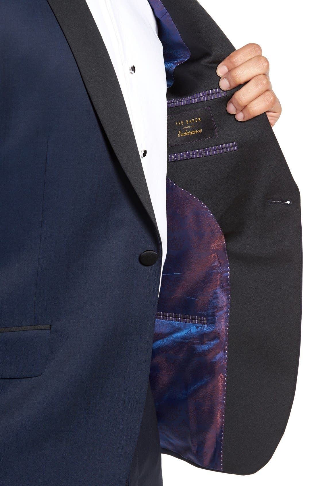 TED BAKER LONDON, Josh Trim Fit Navy Shawl Lapel Tuxedo, Alternate thumbnail 5, color, NAVY BLUE