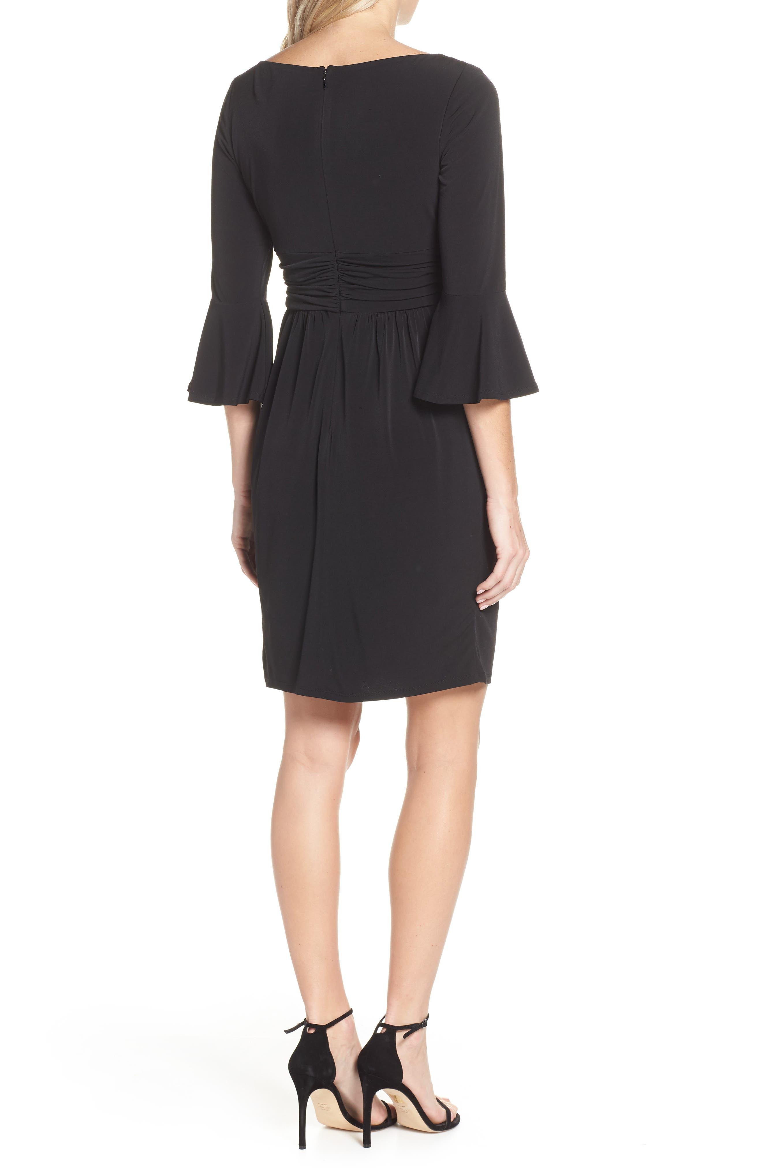 ELIZA J, Bell Sleeve Knit Sheath Dress, Alternate thumbnail 2, color, BLACK
