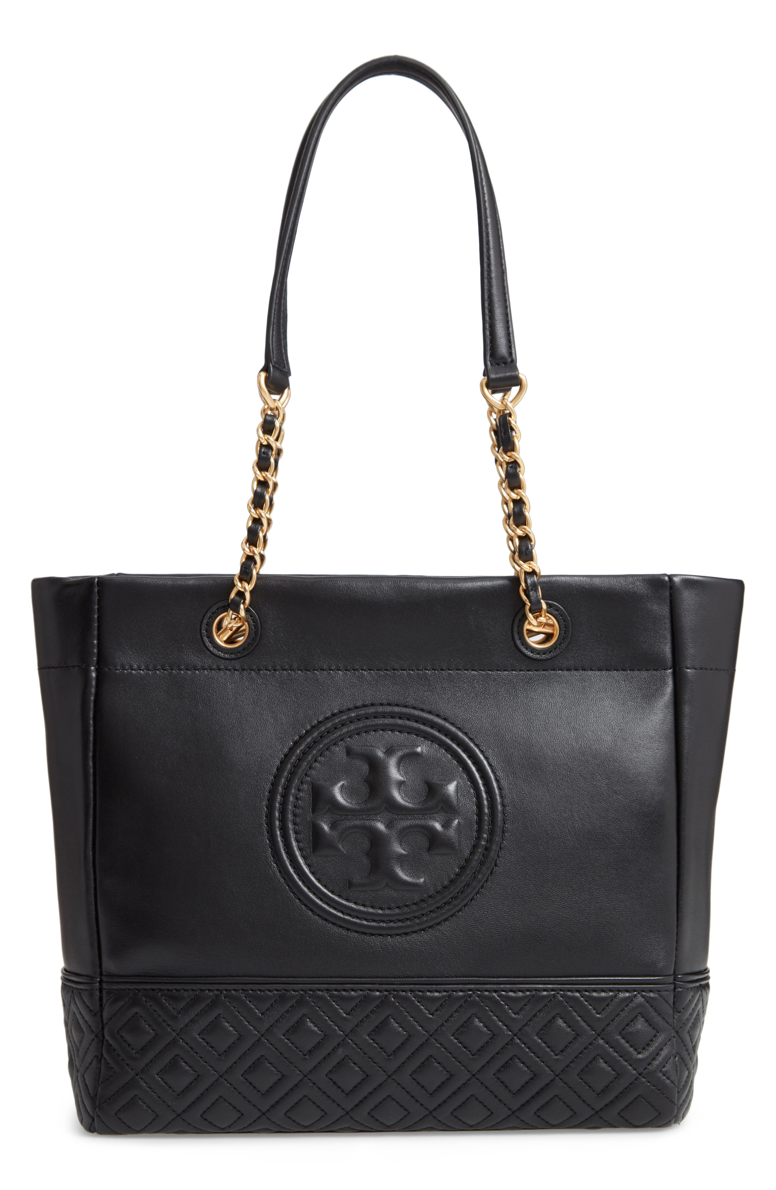 TORY BURCH Fleming Leather Tote, Main, color, BLACK