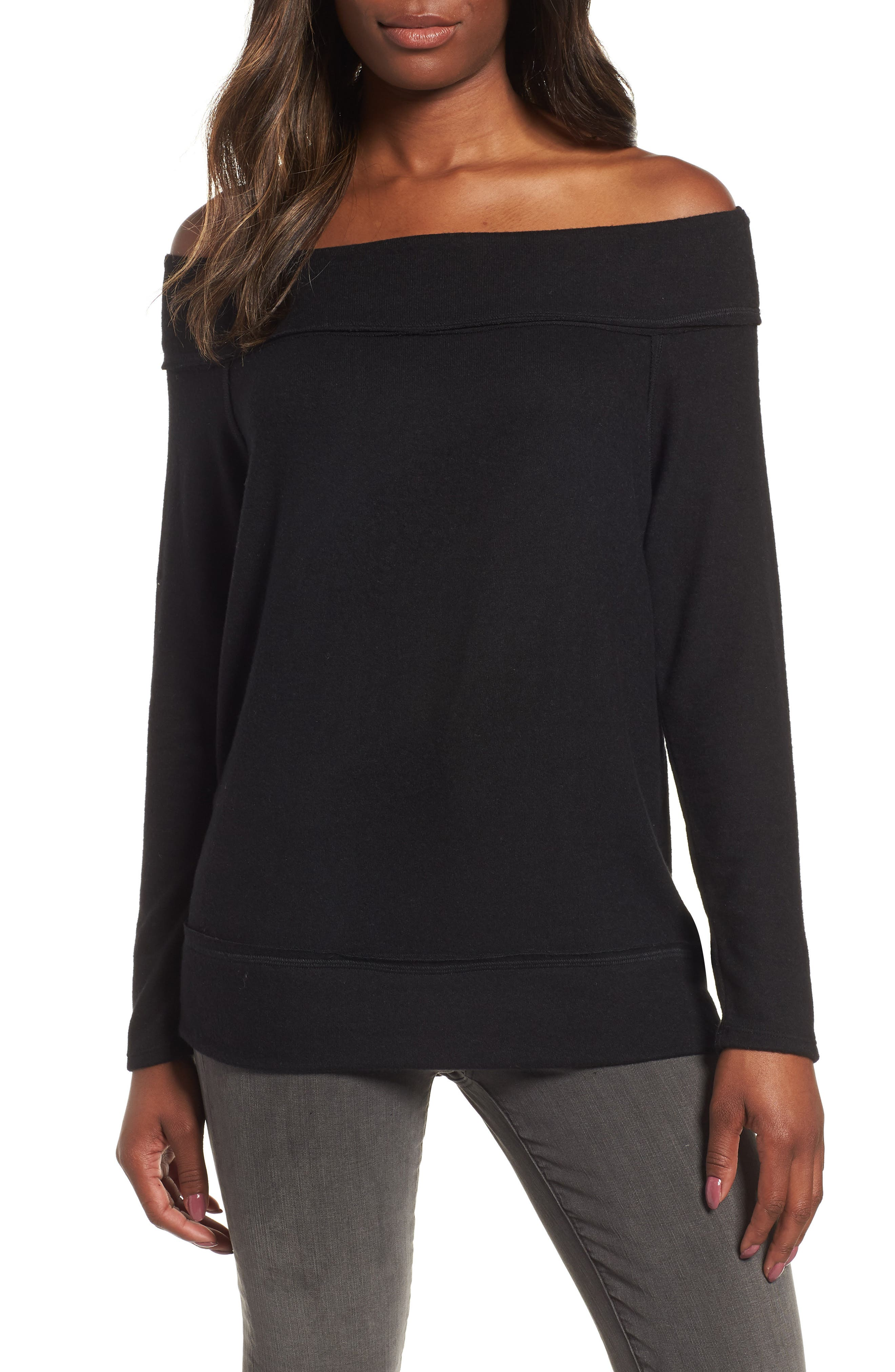 GIBSON, x Living in Yellow Mary Fleece Off the Shoulder Top, Main thumbnail 1, color, BLACK