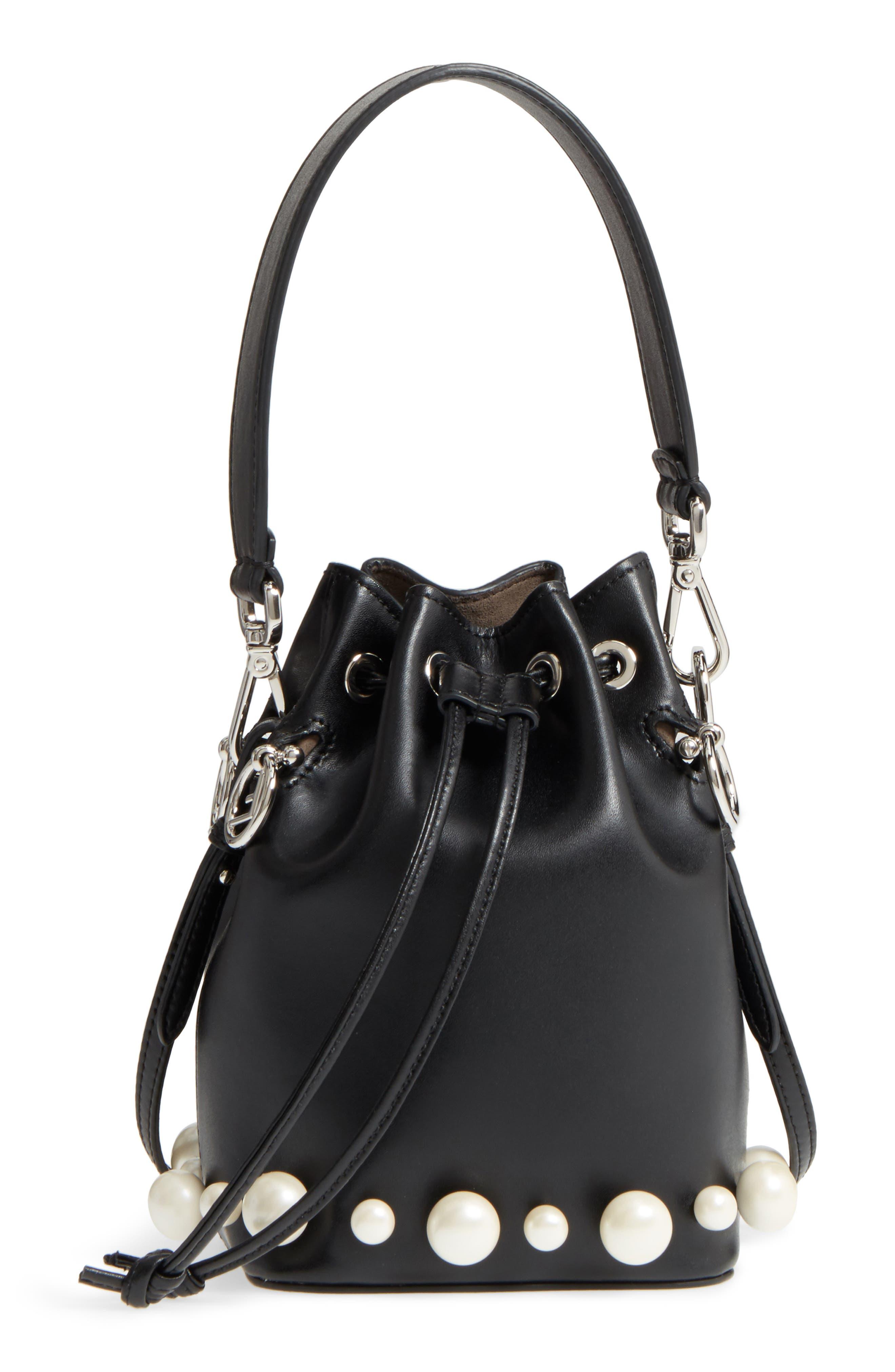 FENDI Imitation Pearl Calfskin Bucket Bag, Main, color, BLACK