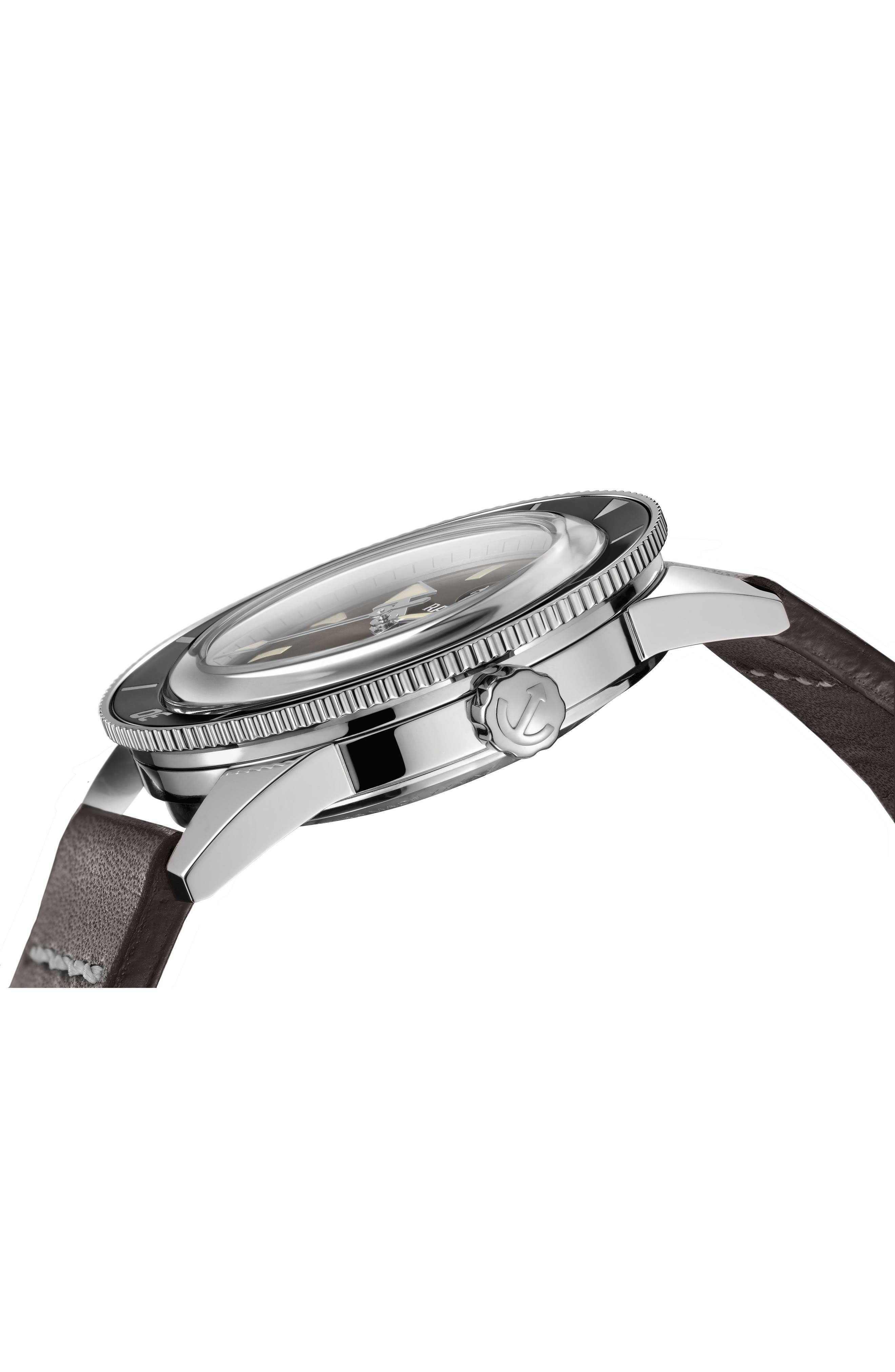 RADO, HyperChrome Captain Cook Automatic Leather Strap Watch, 37.3mm, Alternate thumbnail 3, color, BROWN/ SILVER