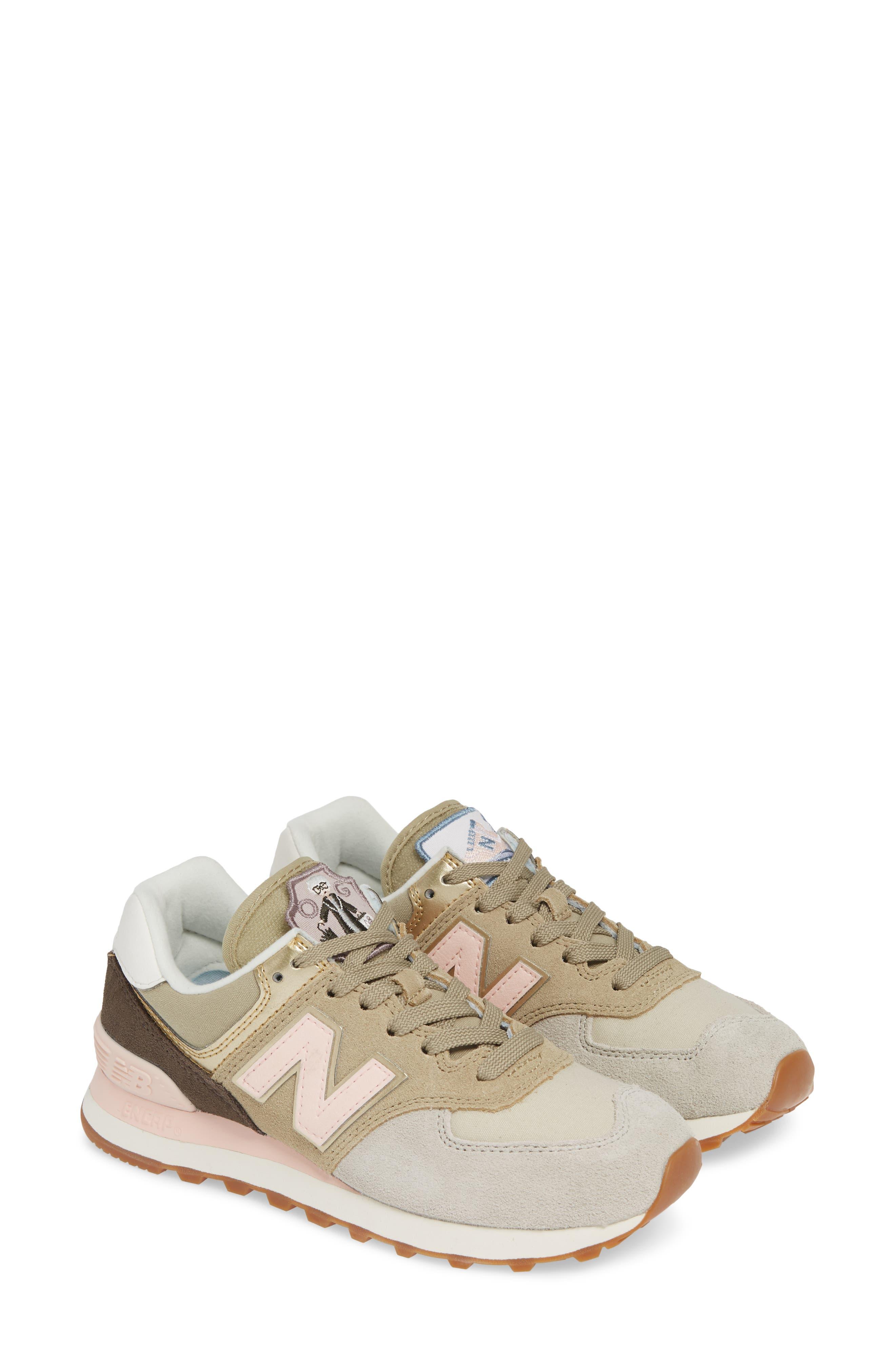 NEW BALANCE 574 Metallic Patch Sneaker, Main, color, LIGHT CLIFF GREY