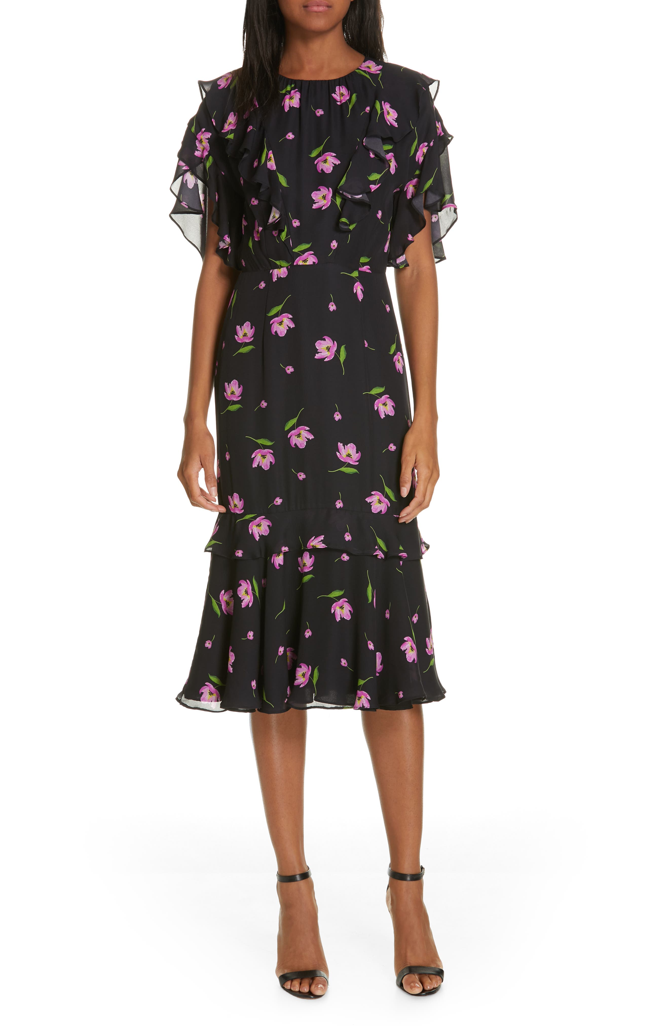 Milly Gia Floral Print Ruffle Silk Dress, Black