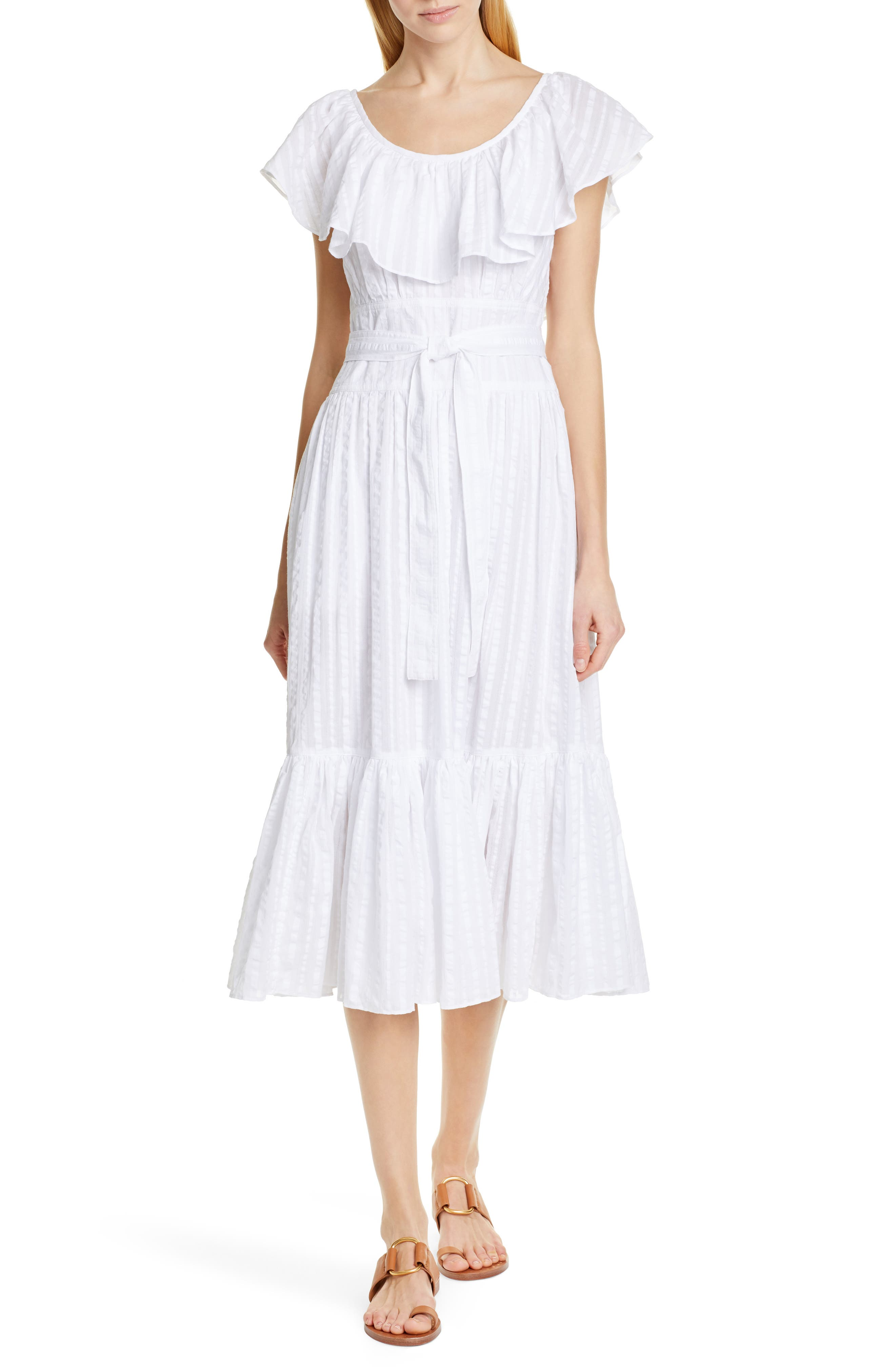 70s Dresses – Disco Dresses, Hippie Dresses, Wrap Dresses Womens Tory Burch Stripe Seersucker Dress $448.00 AT vintagedancer.com