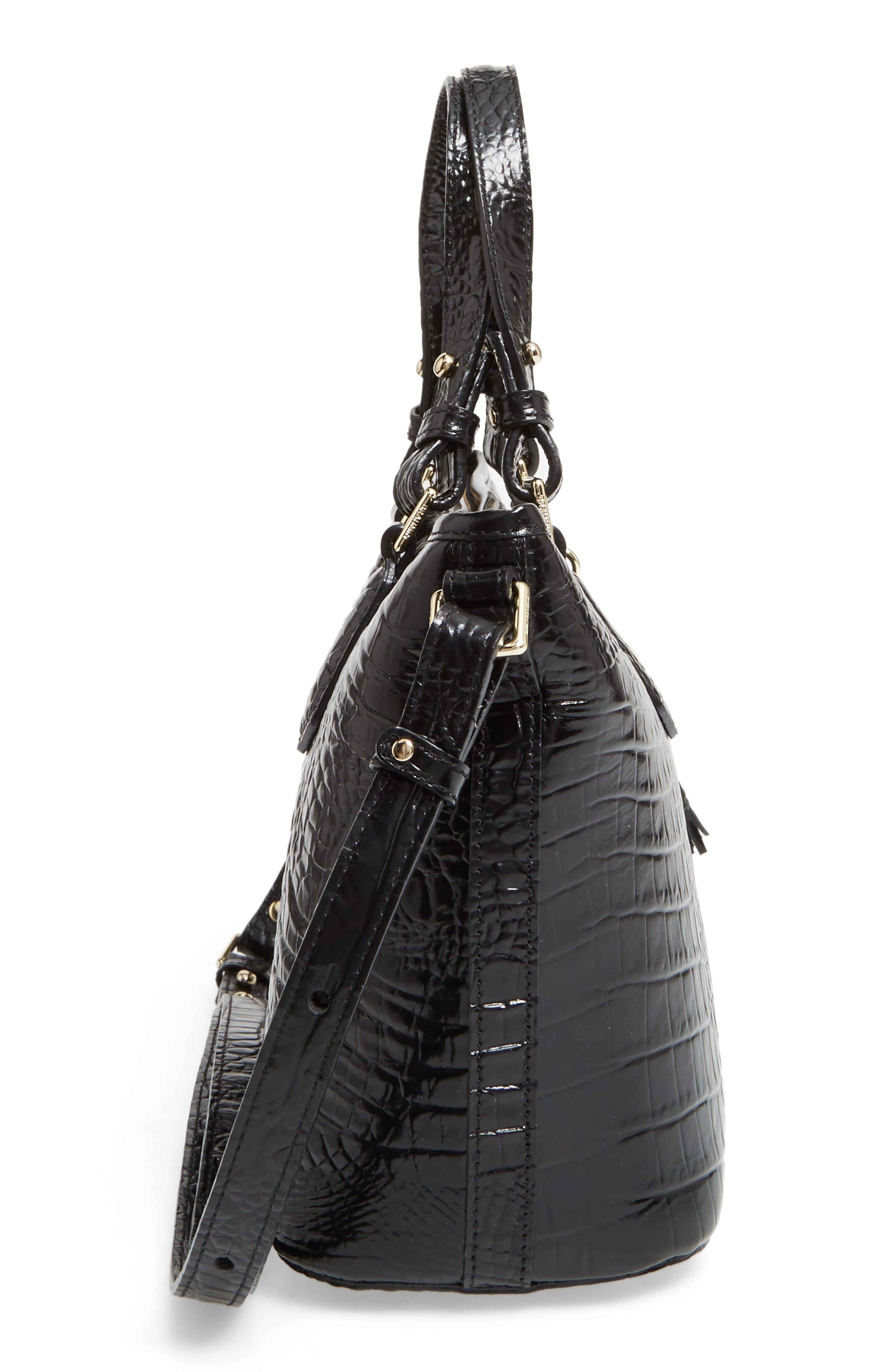 BRAHMIN, Melbourne Mini Asher Leather Tote, Alternate thumbnail 6, color, BLACK