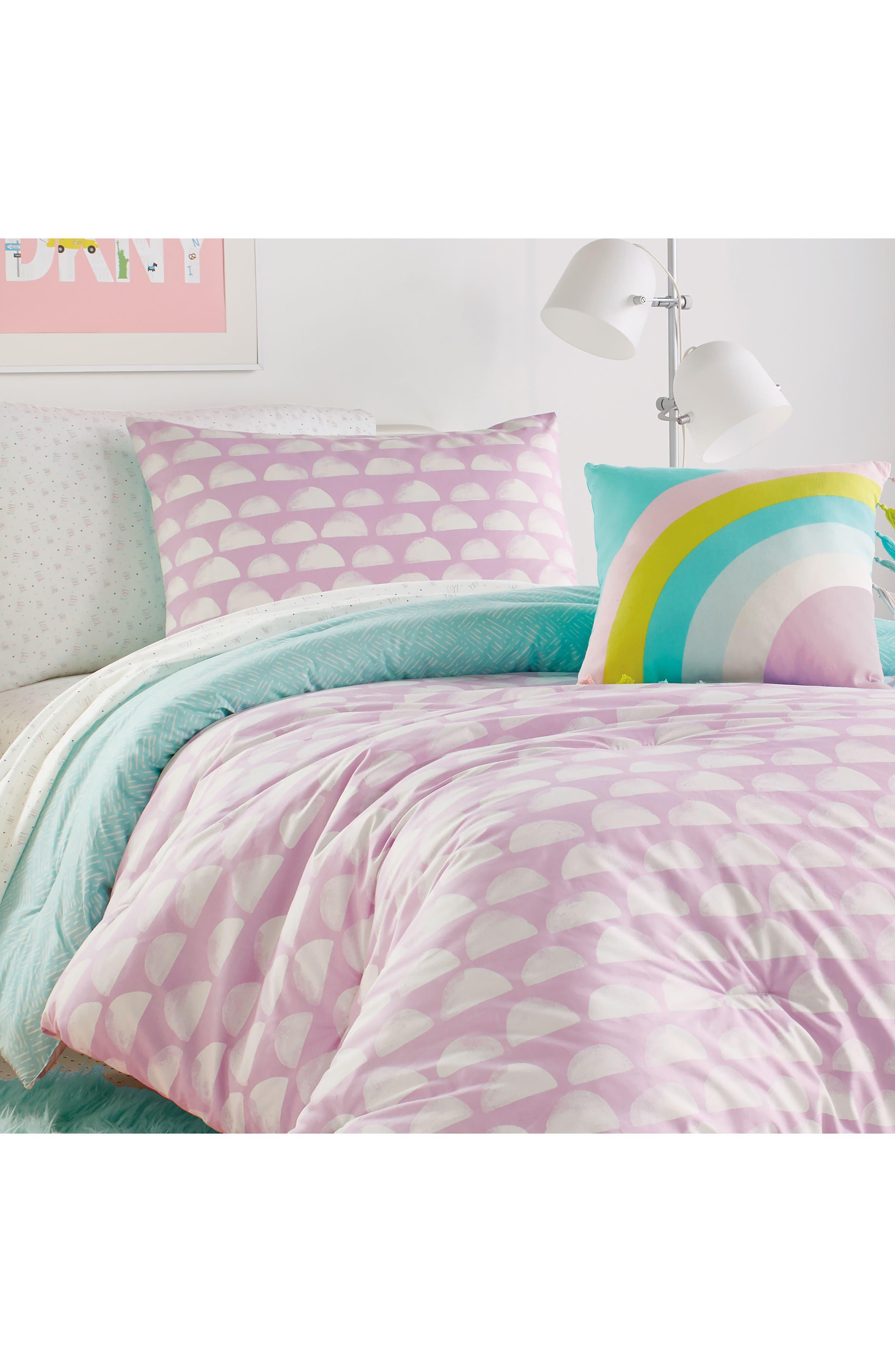 DKNY, Over the Moon Duvet, Sham & Accent Pillow Set, Main thumbnail 1, color, PURPLE