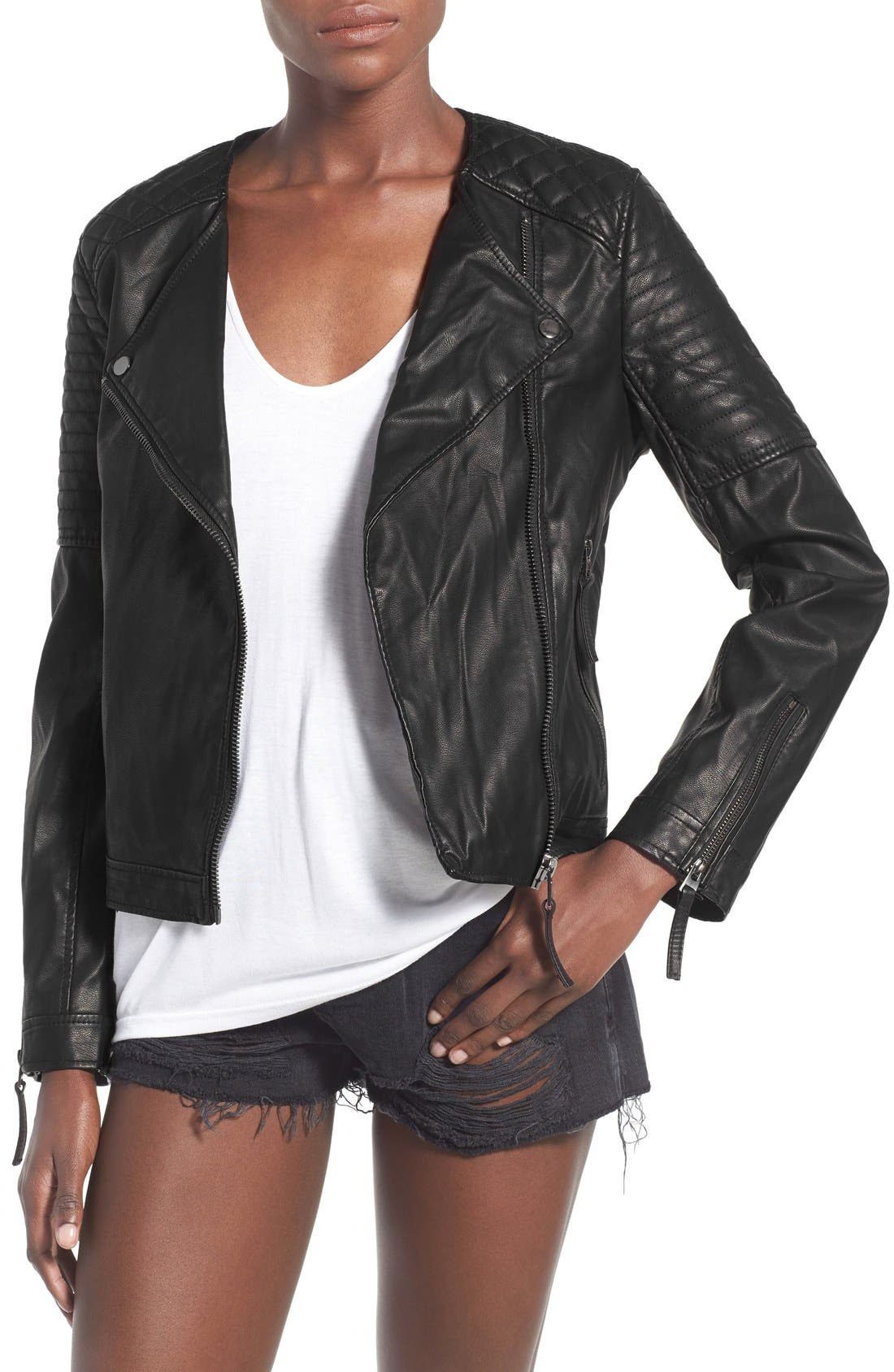 TOPSHOP, Faux Leather Biker Jacket, Main thumbnail 1, color, 001