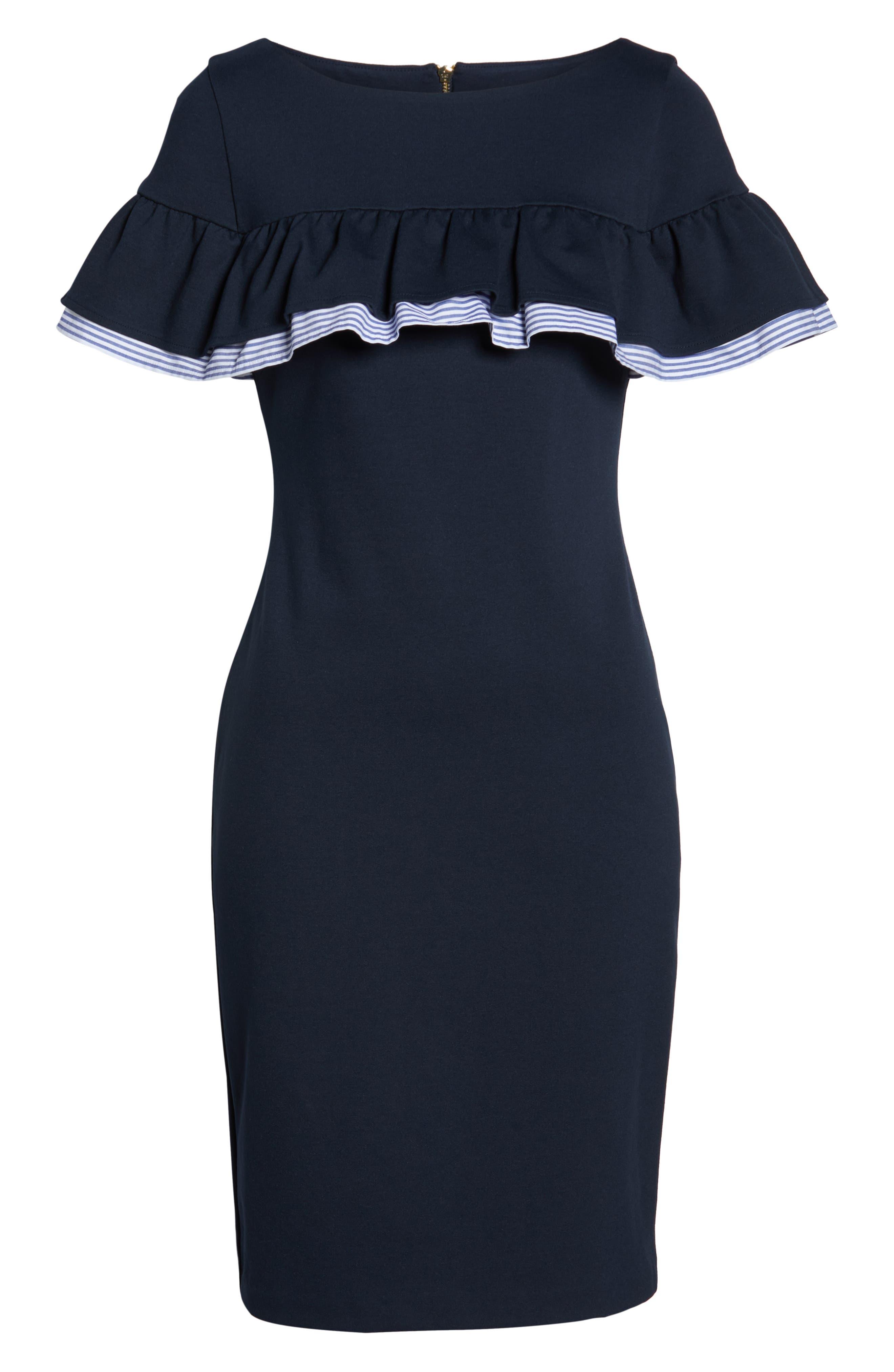 ELIZA J, Ruffle Detail Sheath Dress, Alternate thumbnail 7, color, 410