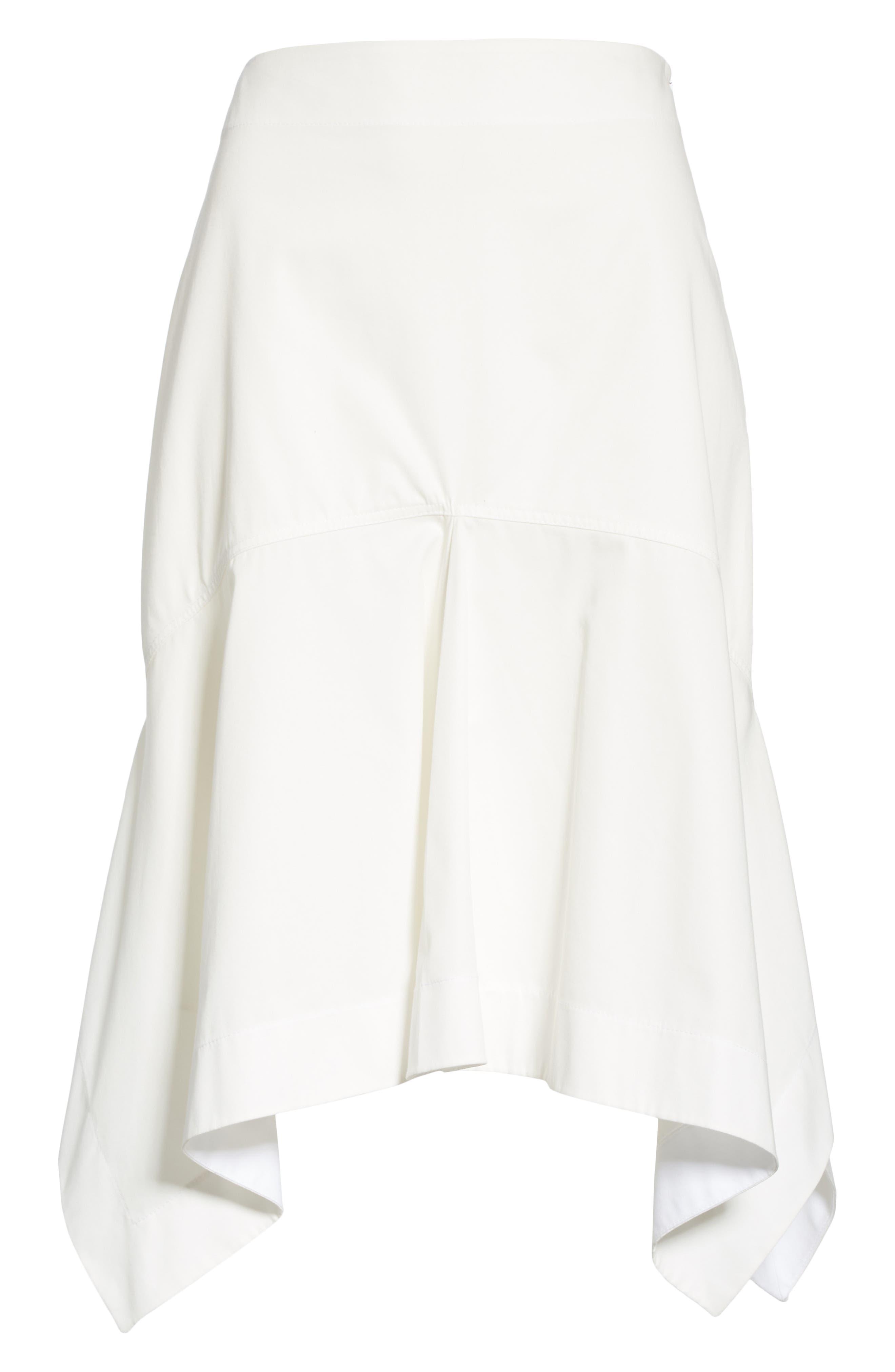 CALVIN KLEIN 205W39NYC, Sharkbite Hem Cotton Gabardine Skirt, Alternate thumbnail 6, color, WHITE