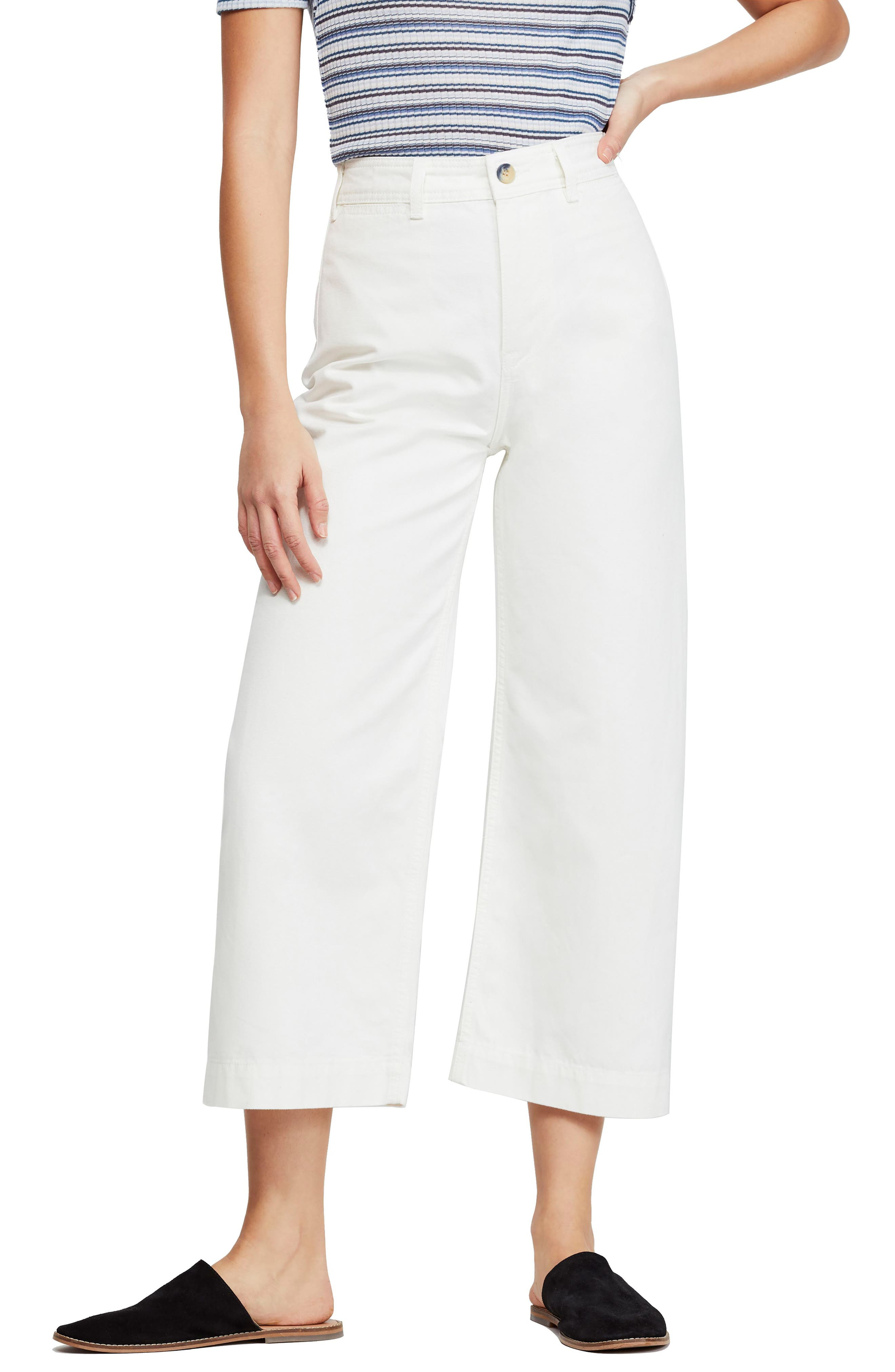 FREE PEOPLE, We the Free by Free People Patti Crop Cotton Pants, Main thumbnail 1, color, IVORY