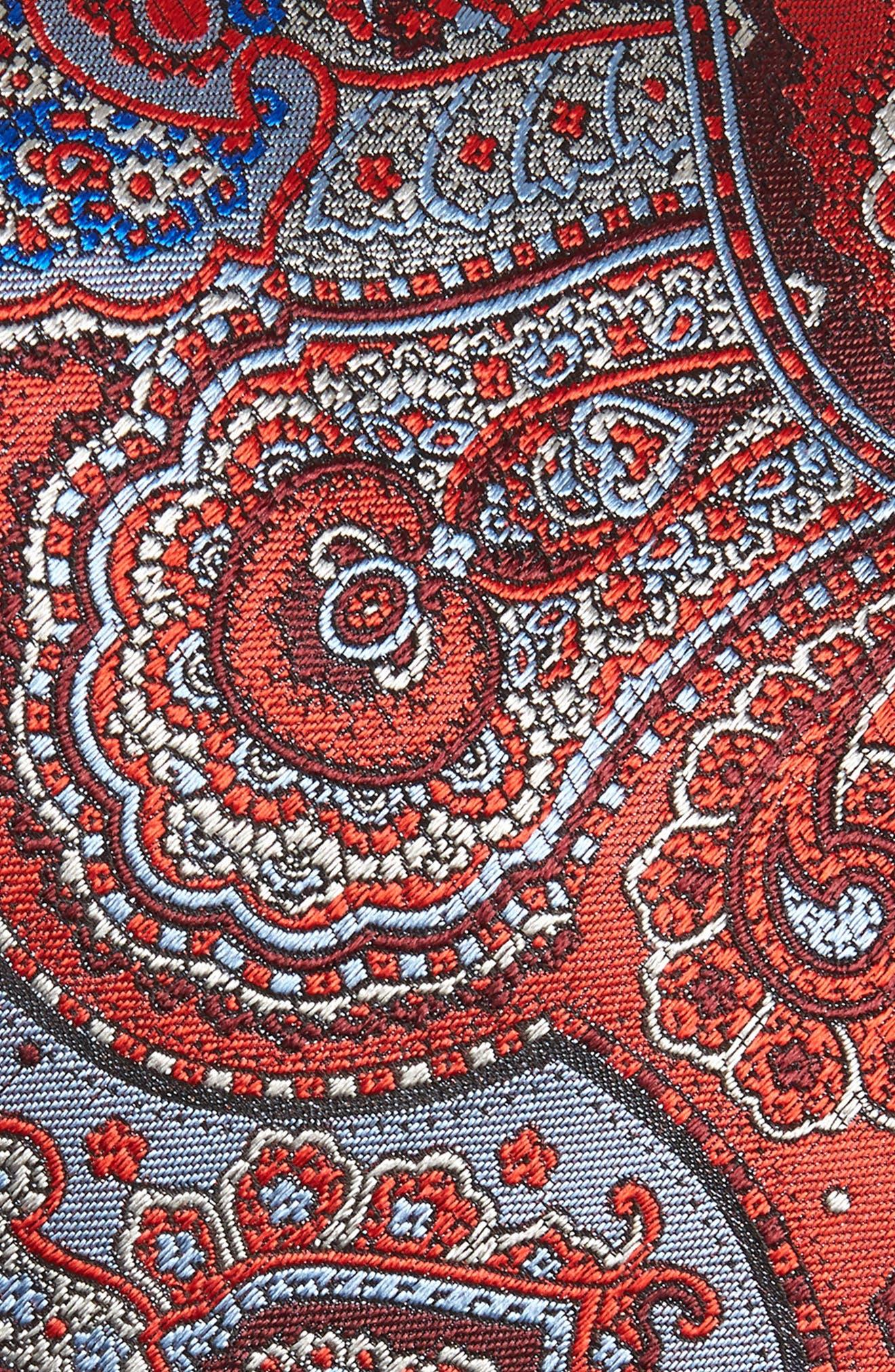 ERMENEGILDO ZEGNA, Quindici Paisley Silk Tie, Alternate thumbnail 2, color, RED