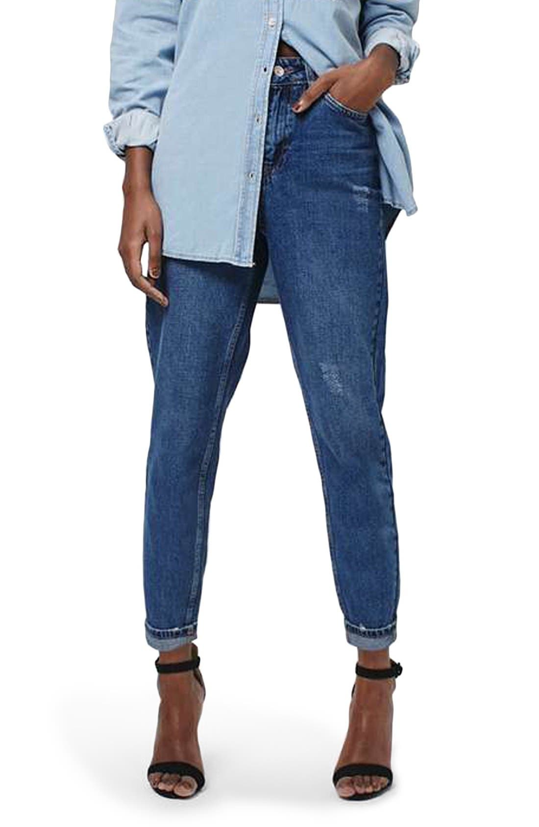 TOPSHOP, 'Mom' High Rise Jeans, Main thumbnail 1, color, 400