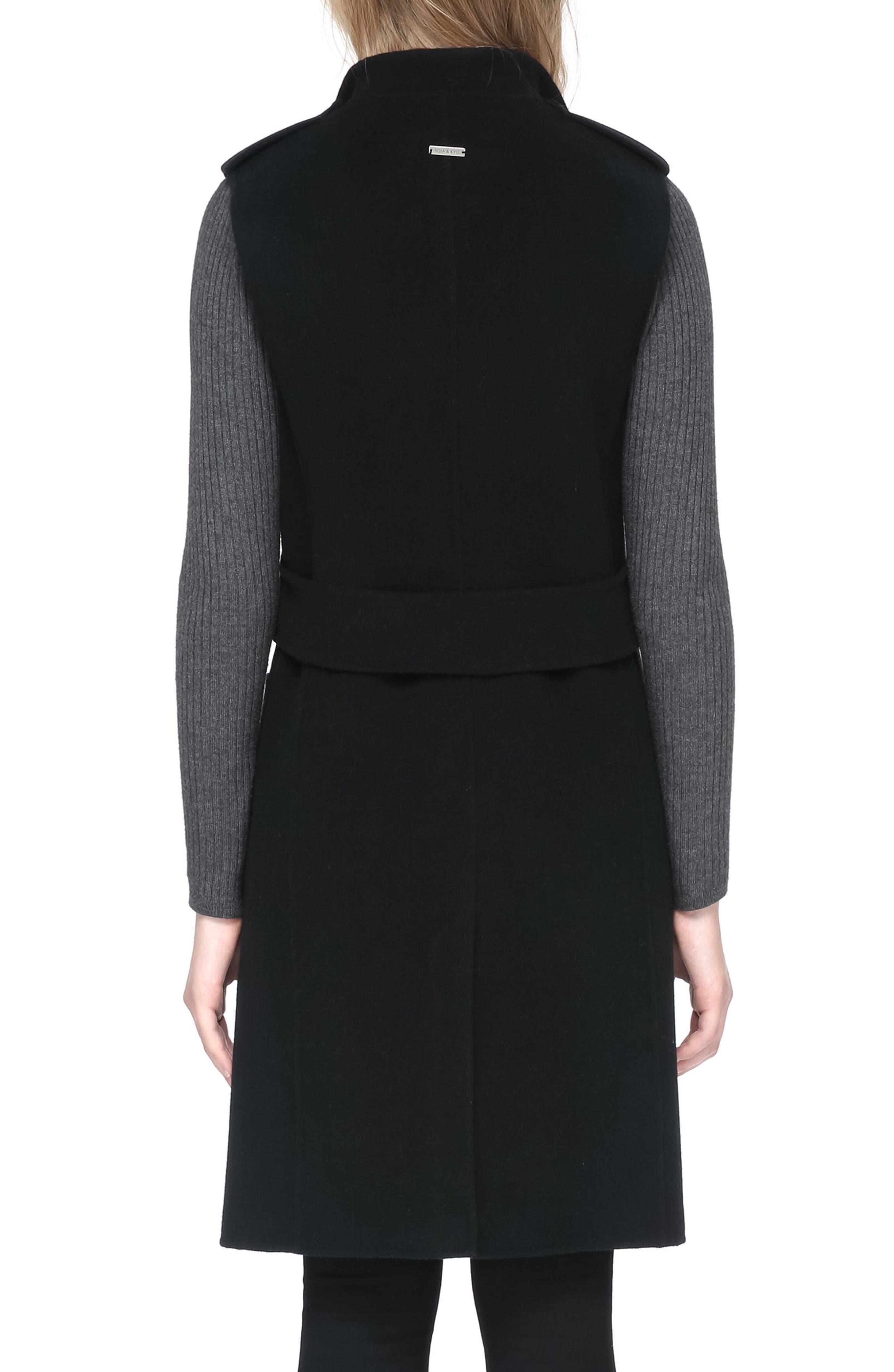 SOIA & KYO, Reversible Wool Blend Vest, Alternate thumbnail 2, color, 001
