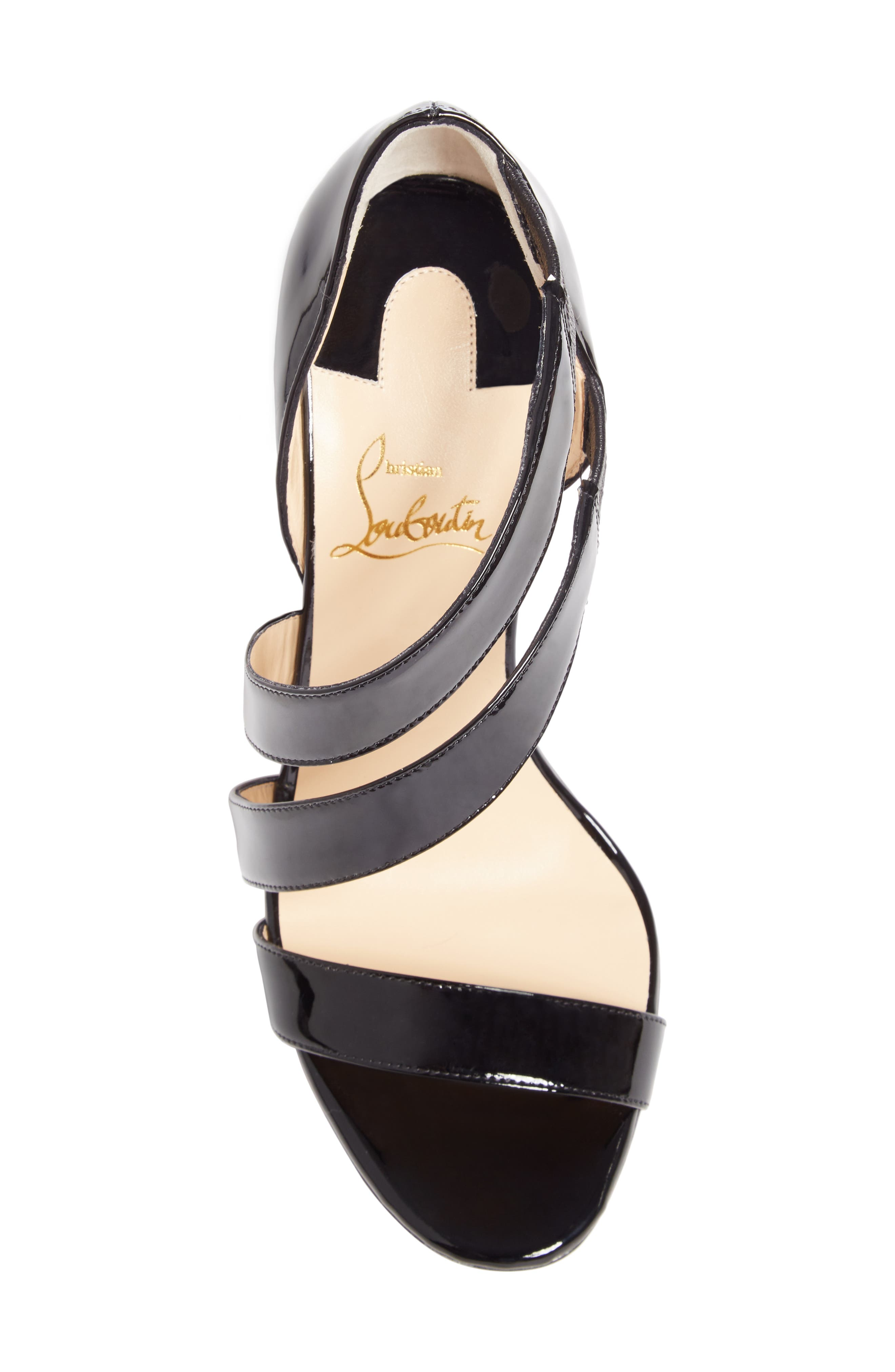 CHRISTIAN LOUBOUTIN, World Copine Asymmetrical Sandal, Alternate thumbnail 5, color, BLACK PATENT