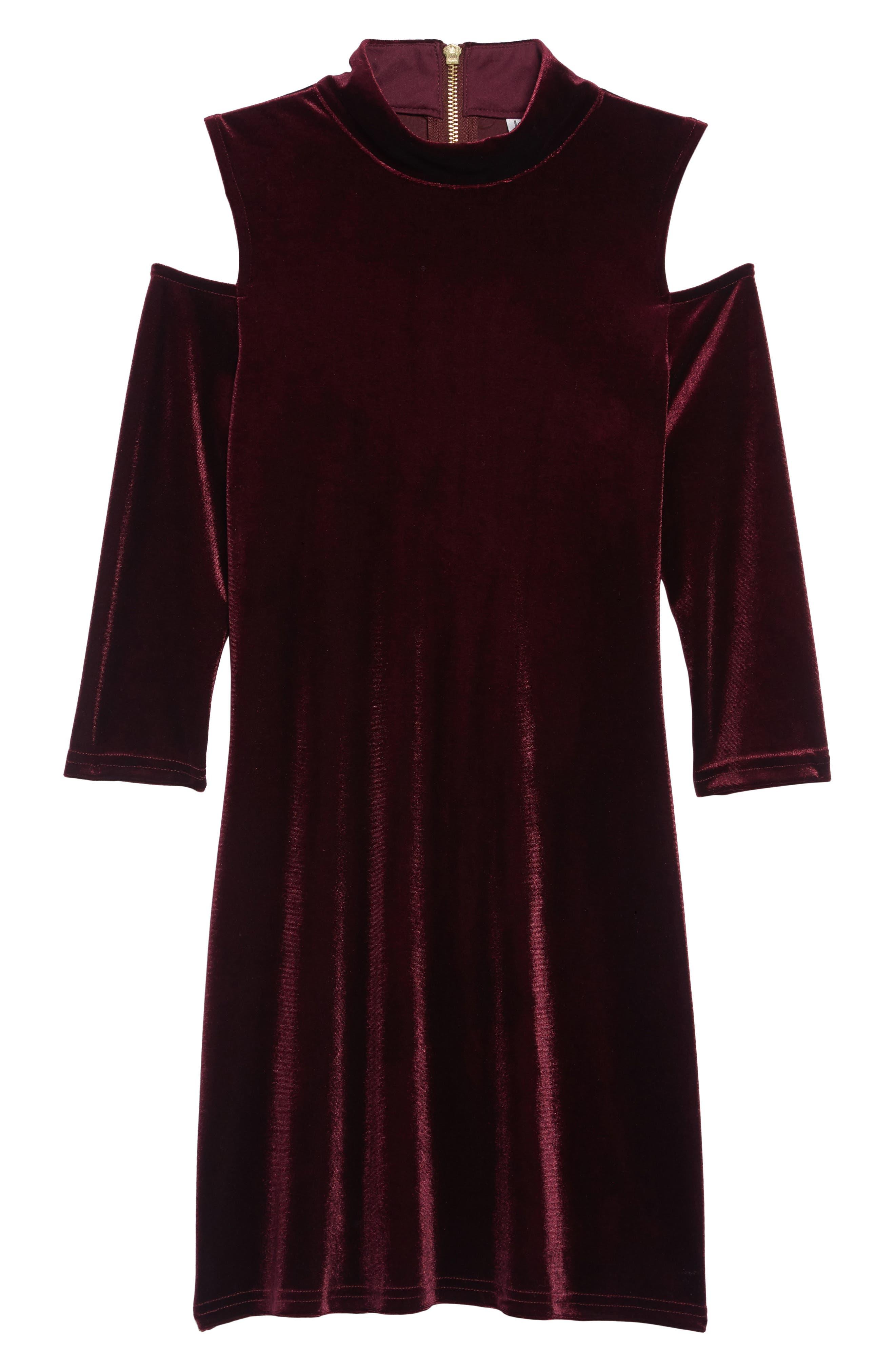 BLUSH BY US ANGELS, Cold Shoulder Velvet Dress, Main thumbnail 1, color, BERRY