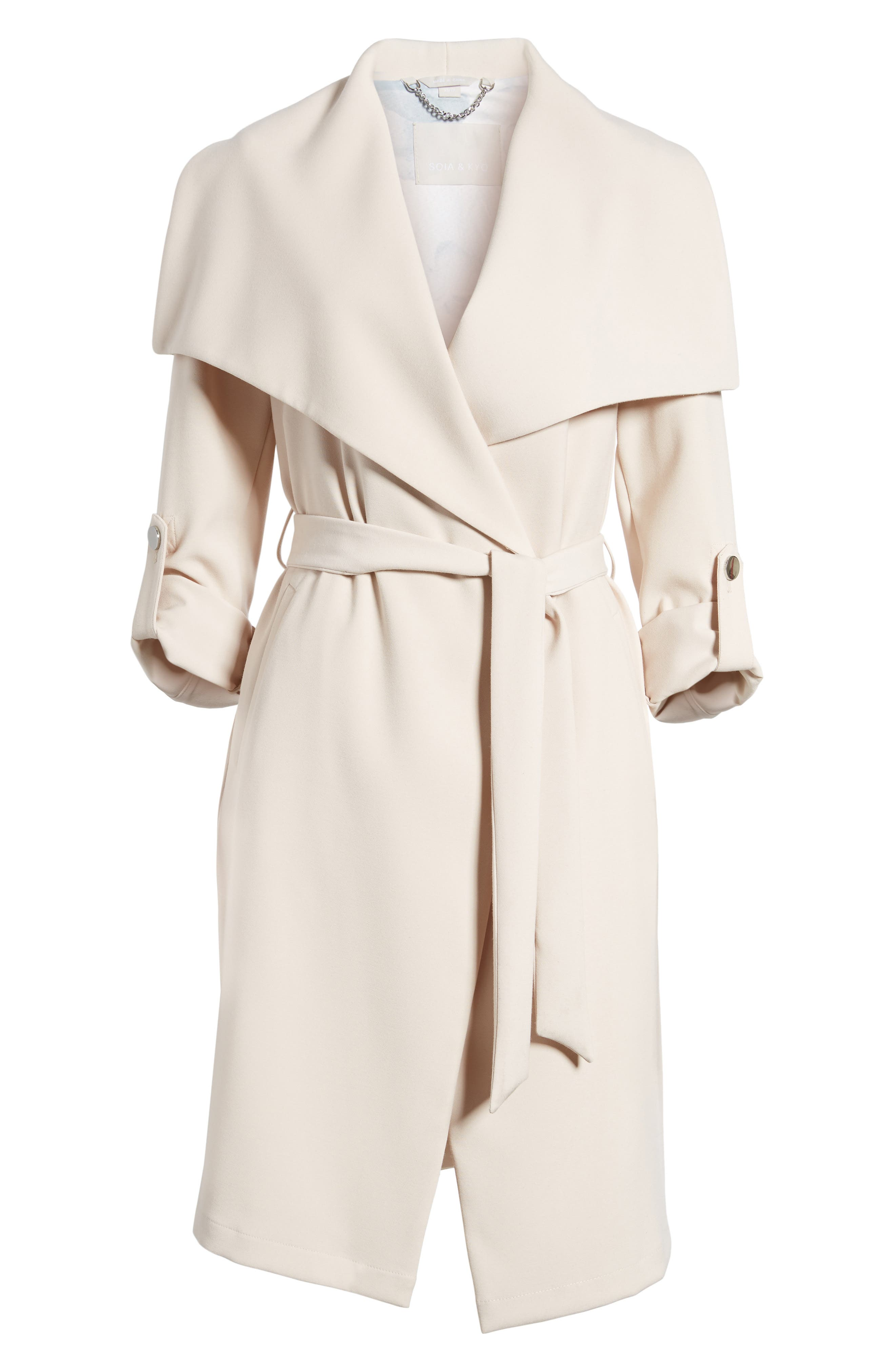 SOIA & KYO, Roll Sleeve Drape Front Long Trench Coat, Alternate thumbnail 5, color, 277