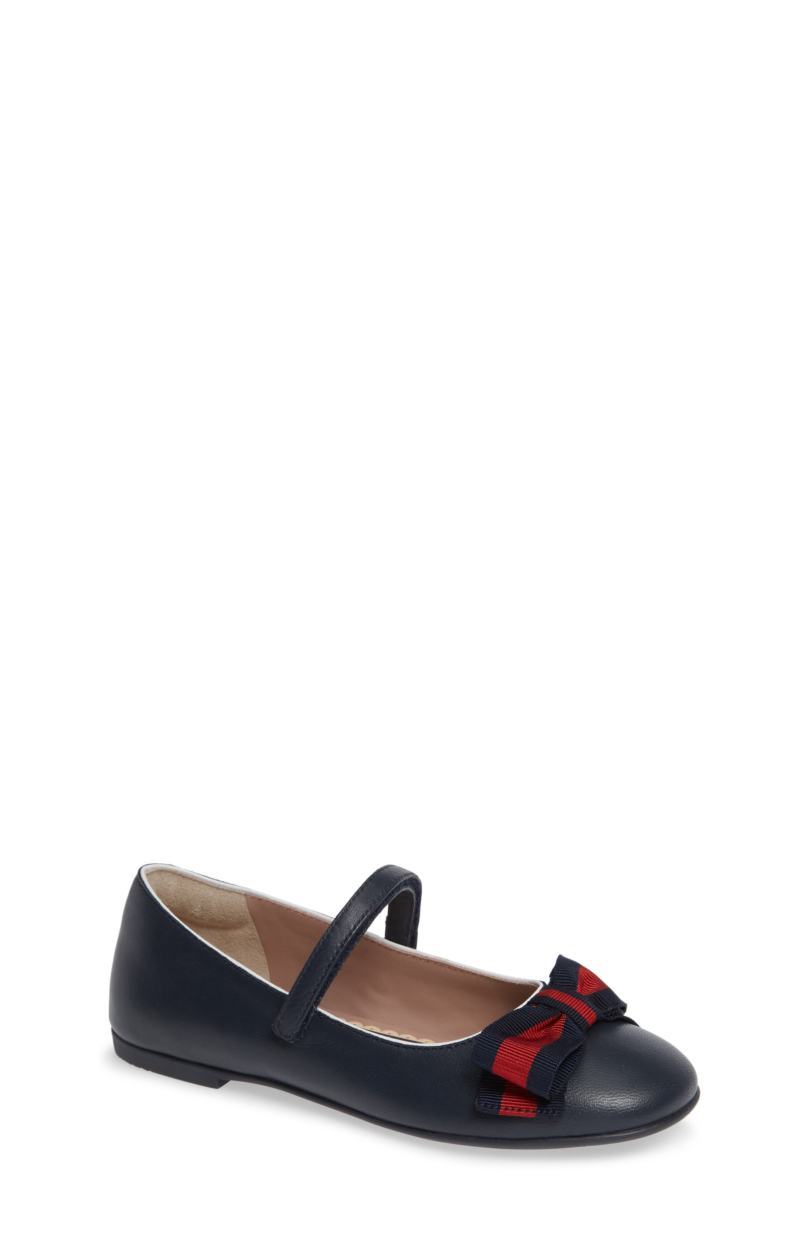 GUCCI, Cindy Mary Jane Flat, Main thumbnail 1, color, BLUE/ GREAT WHITE/ RED