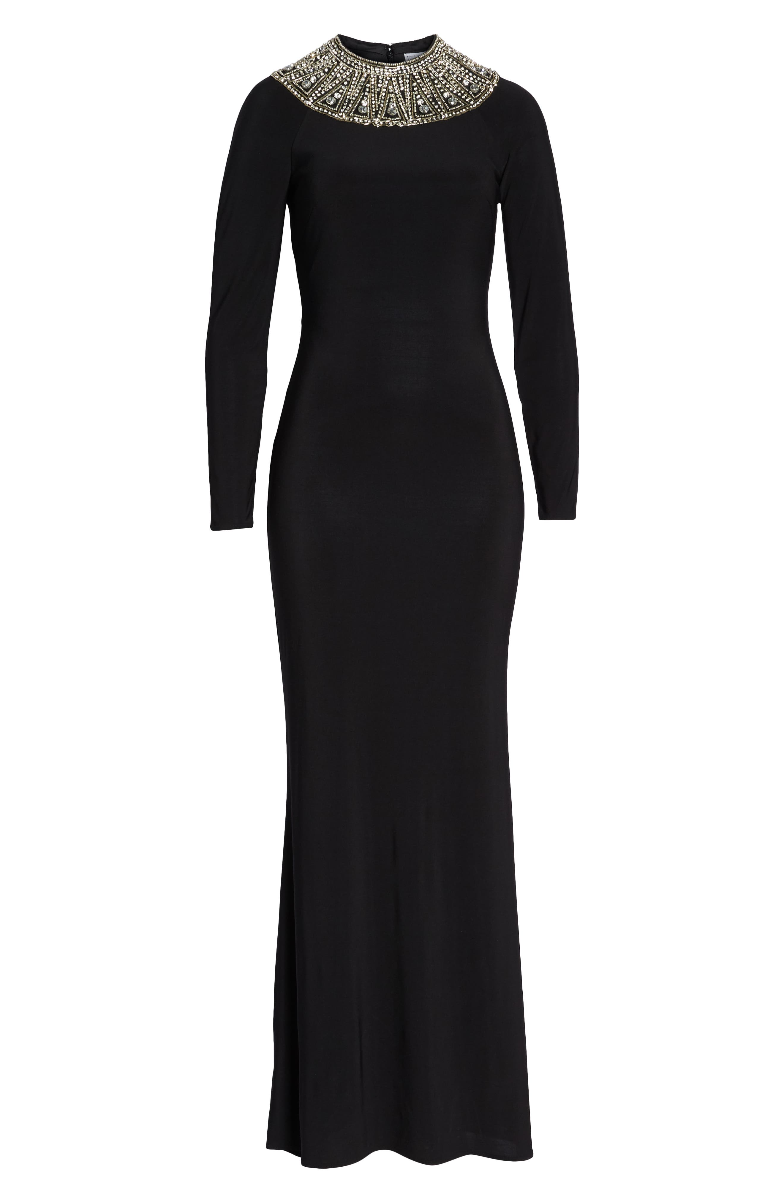 IEENA FOR MAC DUGGAL, Mac Duggal Beaded Collar Jersey Gown, Alternate thumbnail 7, color, BLACK