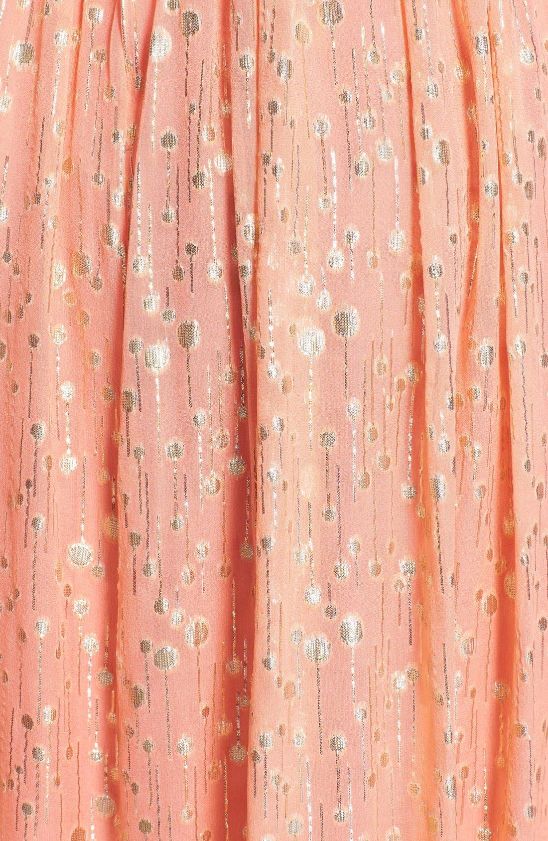 ERIN ERIN FETHERSTON, 'Monique' Foiled Silk Chiffon Gown, Alternate thumbnail 2, color, 950