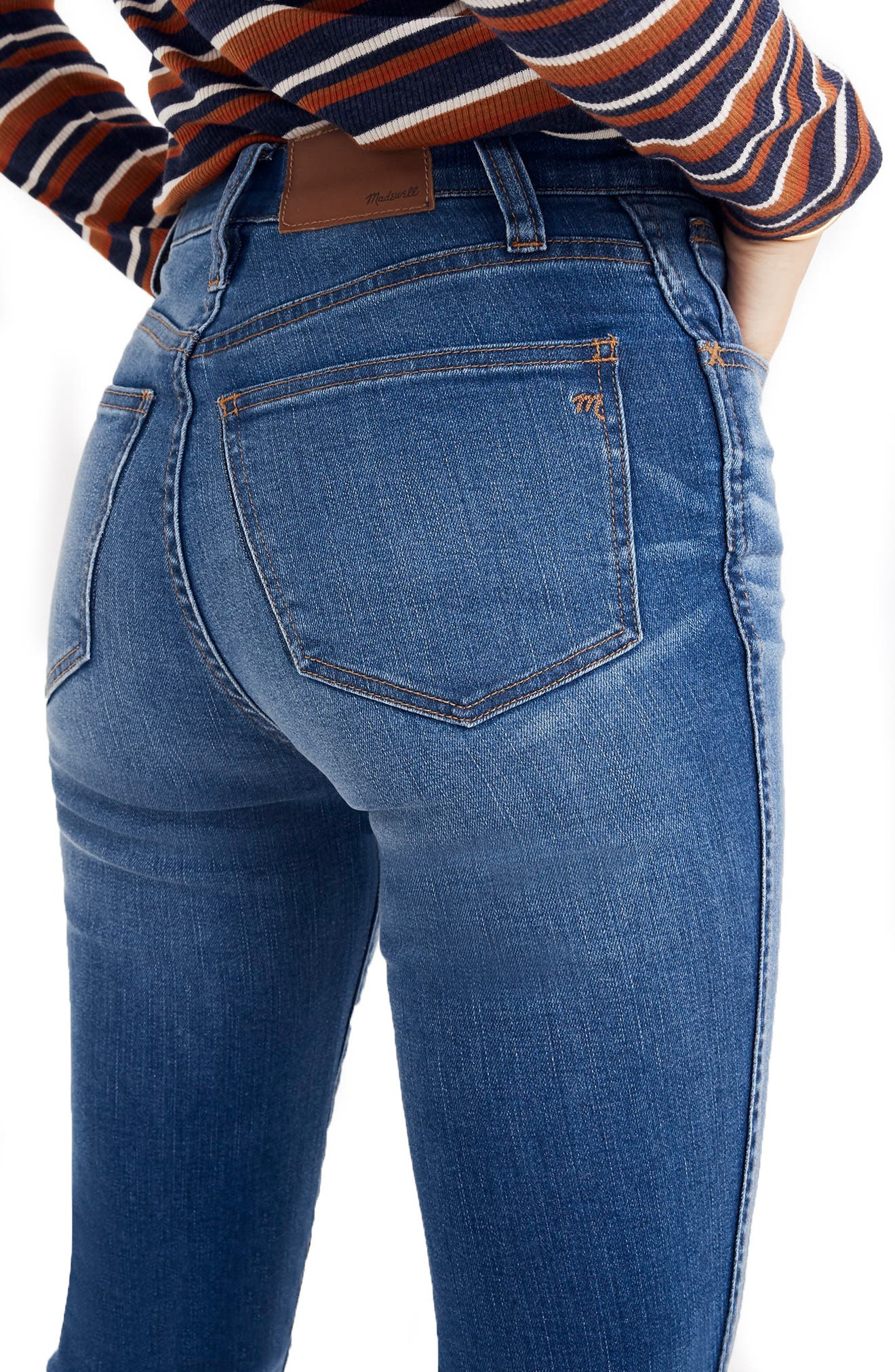MADEWELL, Roadtripper Ripped High Waist Ankle Skinny Jeans, Alternate thumbnail 3, color, THE ROAD TRIPPER W/ SLIT KNEES