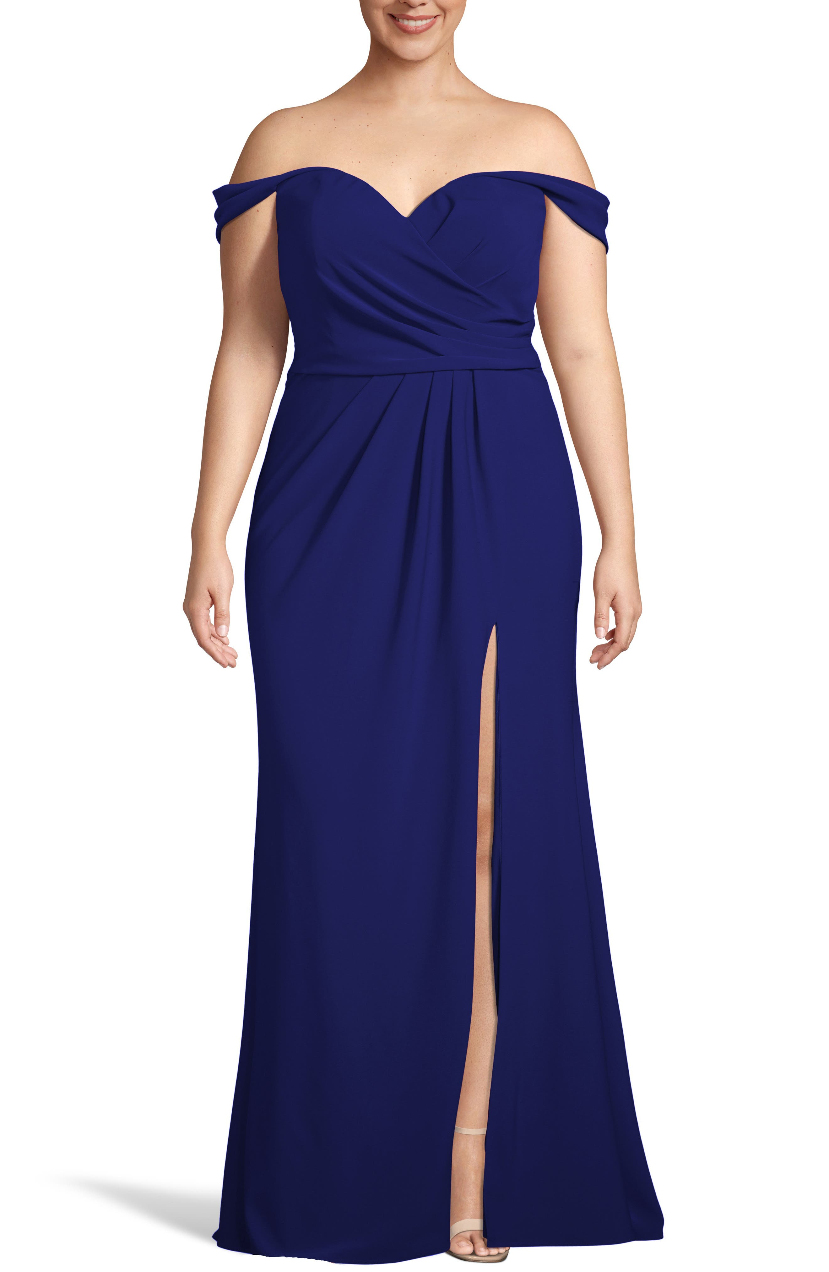 Plus Size Xscape Off The Shoulder Crepe Evening Dress, Blue
