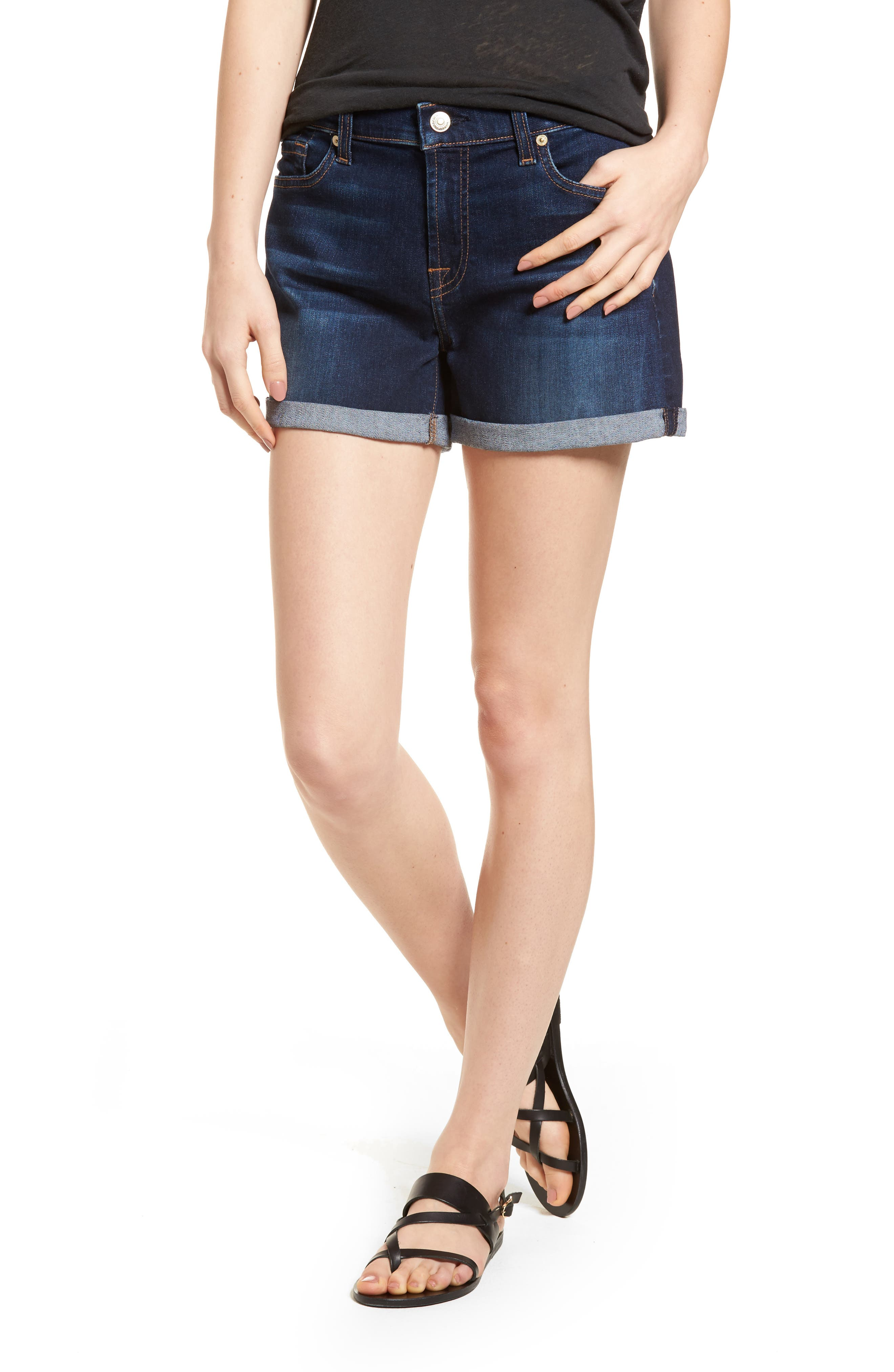 7 FOR ALL MANKIND<SUP>®</SUP> b(air) Cuffed Denim Shorts, Main, color, MORENO