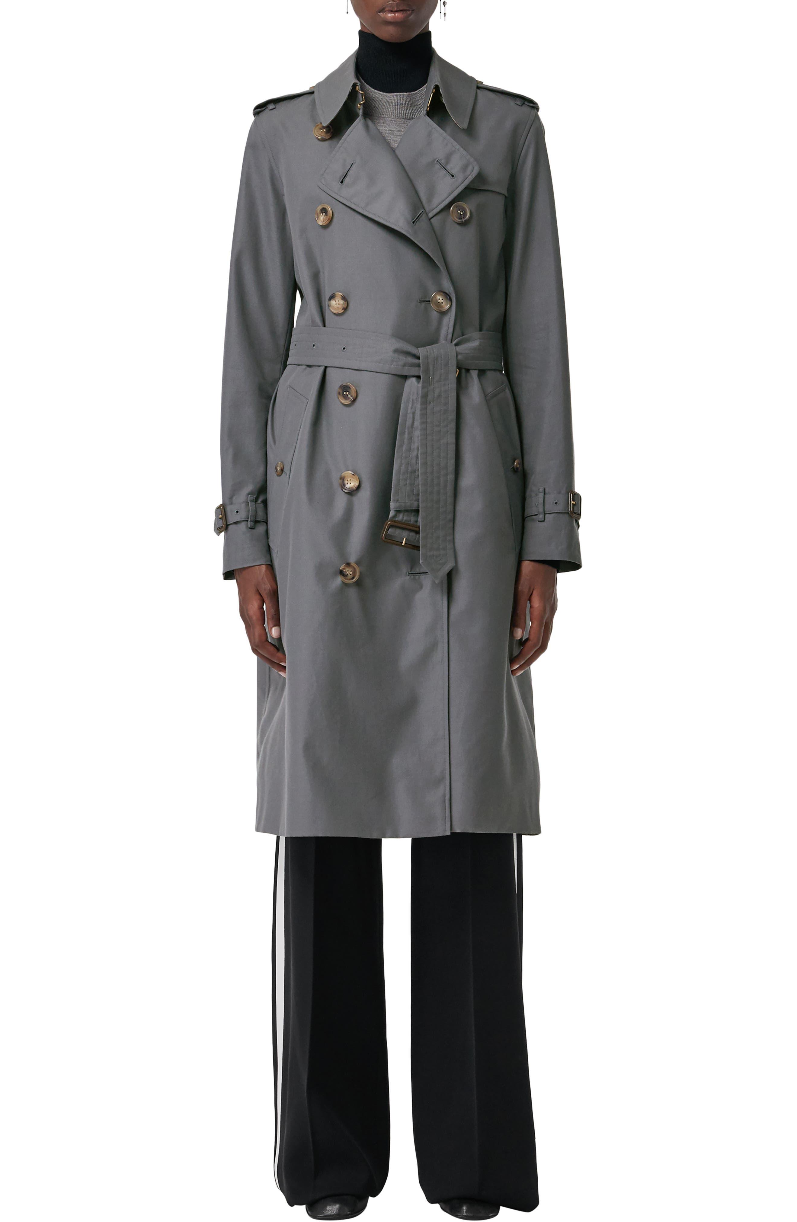 BURBERRY, Kensington Long Heritage Trench Coat, Main thumbnail 1, color, MID GREY