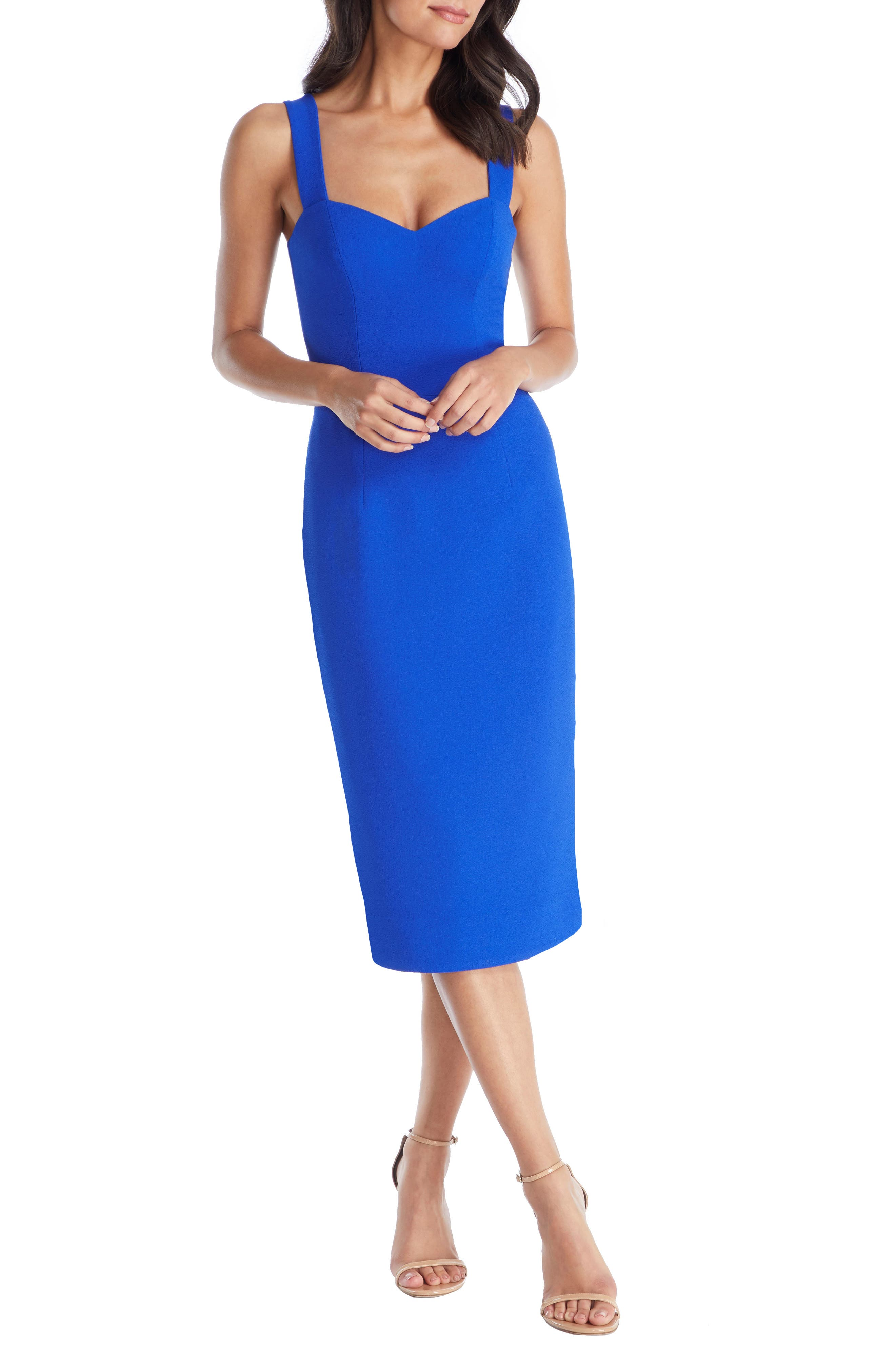 Dress The Population Nicole Sweetheart Neck Cocktail Dress, Blue