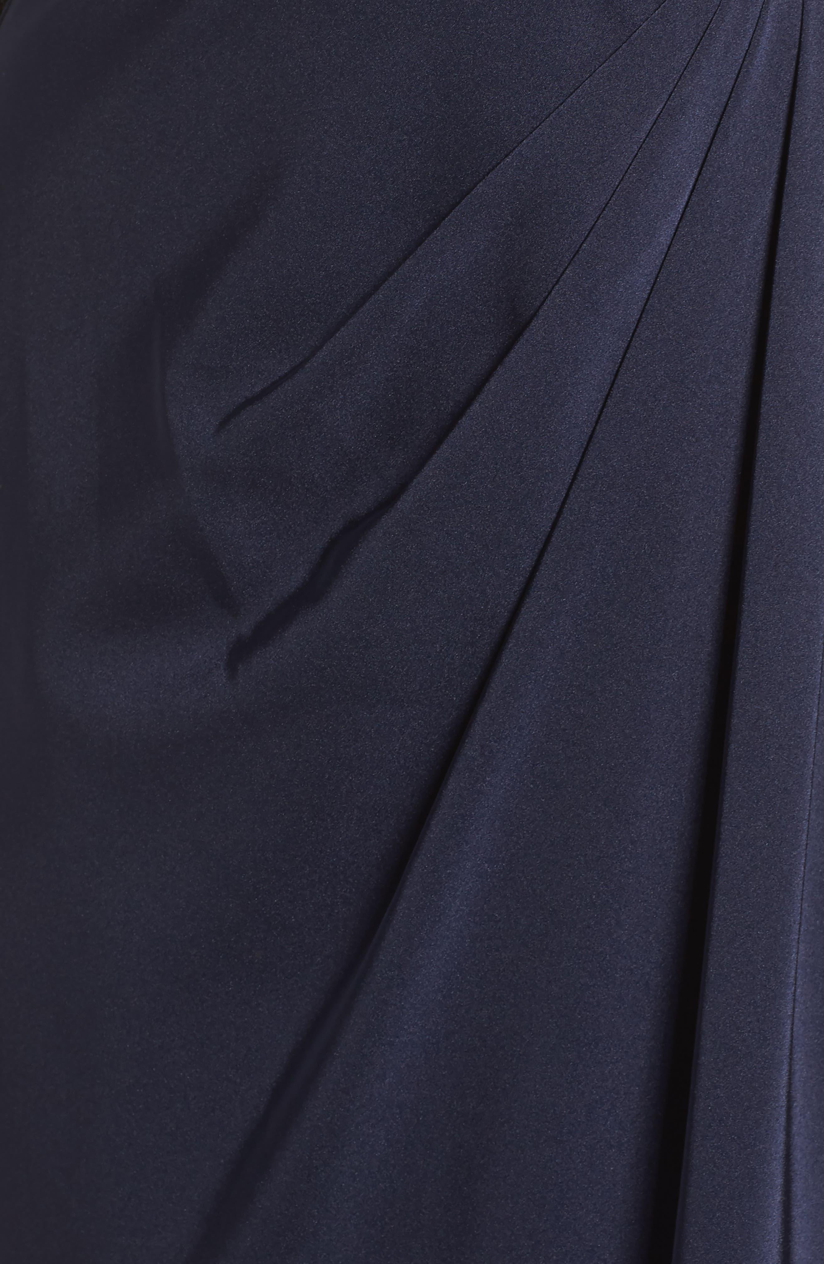 LA FEMME, Bead Embellished Gown, Alternate thumbnail 5, color, NAVY