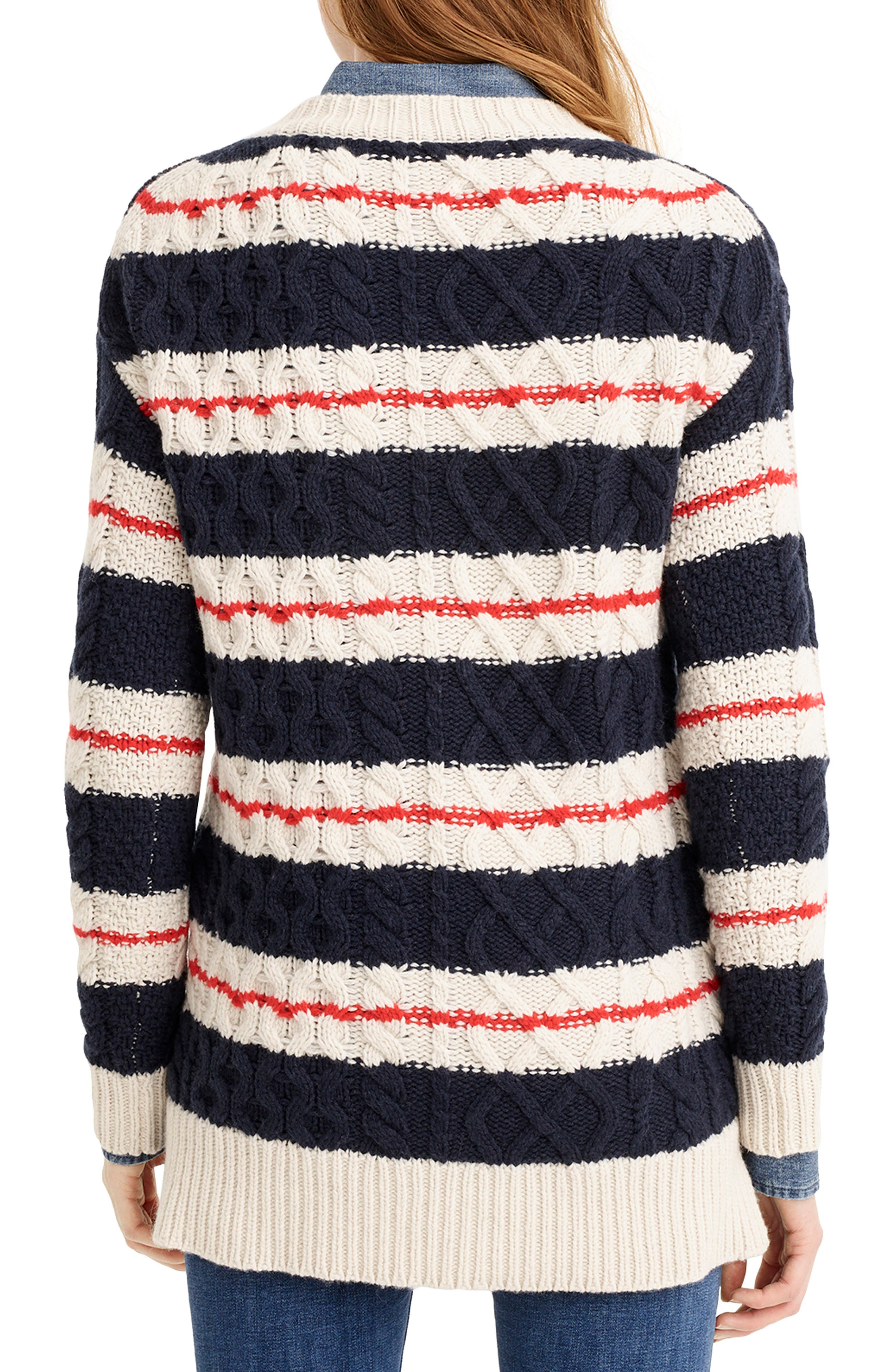 J.CREW, Stripe Cable Knit Tunic Sweater, Alternate thumbnail 2, color, 400