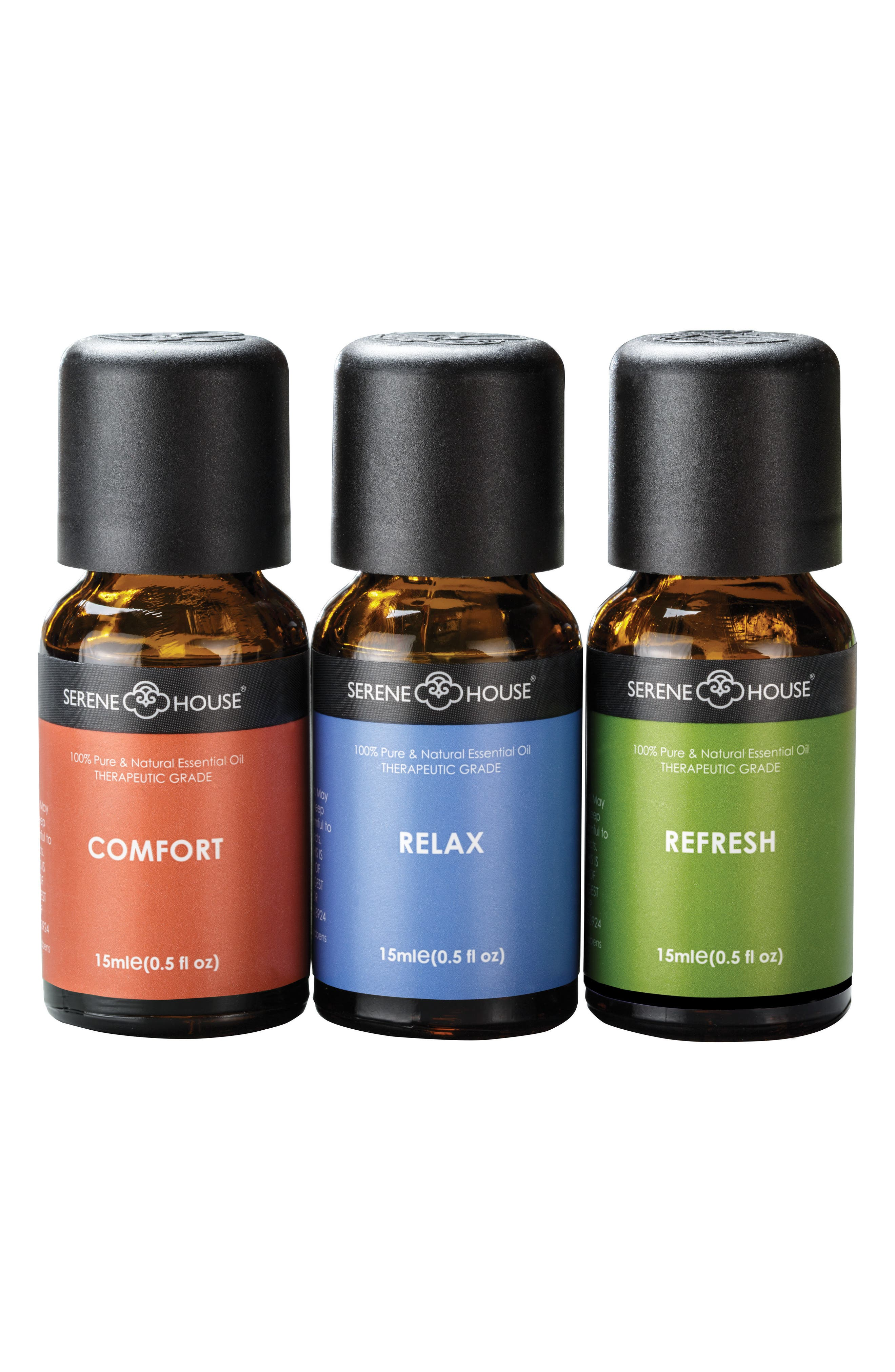 SERENE HOUSE, Pure & Natural 3-Pack Essential Oils, Main thumbnail 1, color, SPA