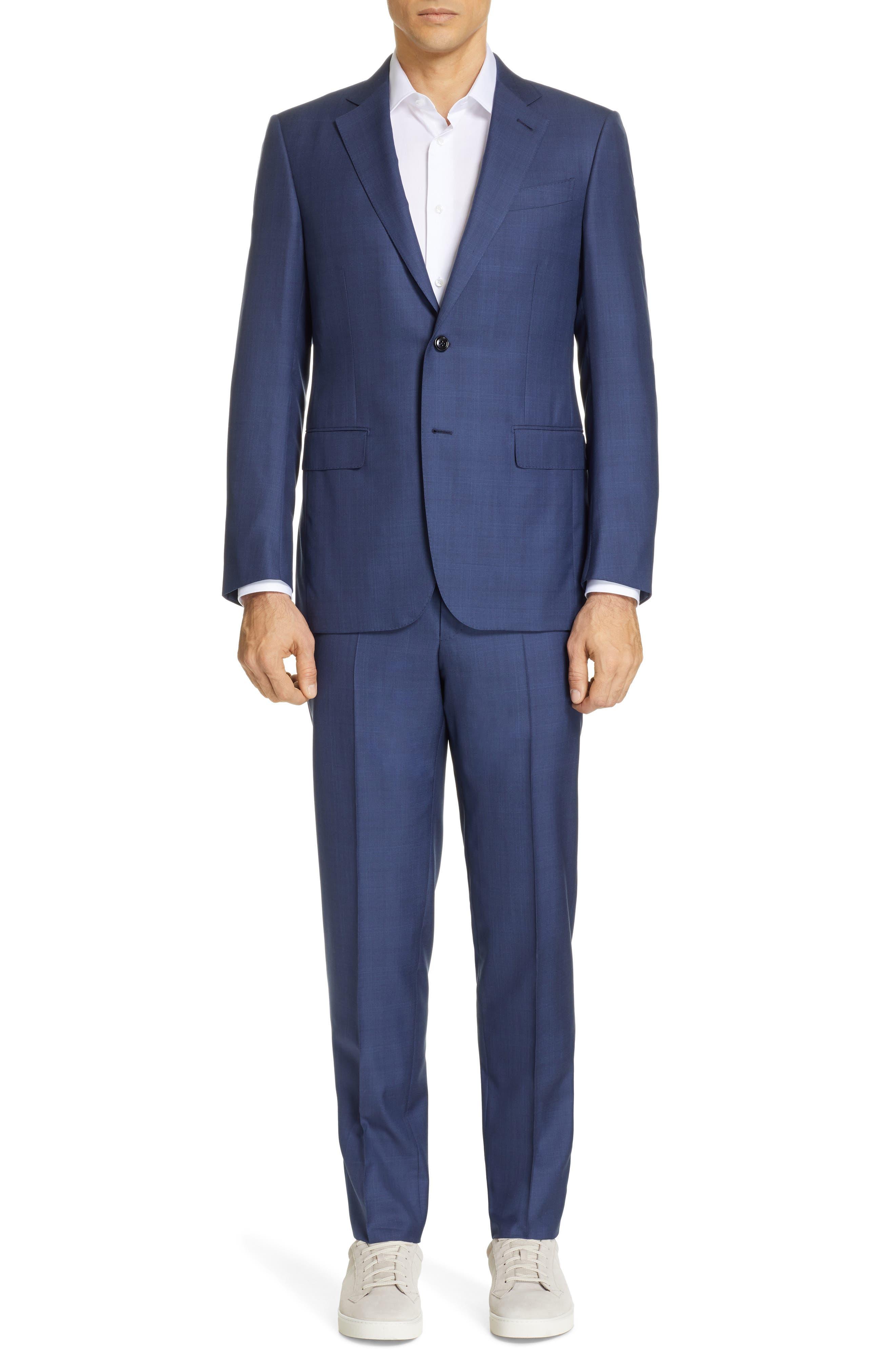 ERMENEGILDO ZEGNA, Trofeo Classic Fit Plaid Wool & Silk Suit, Main thumbnail 1, color, BLUE
