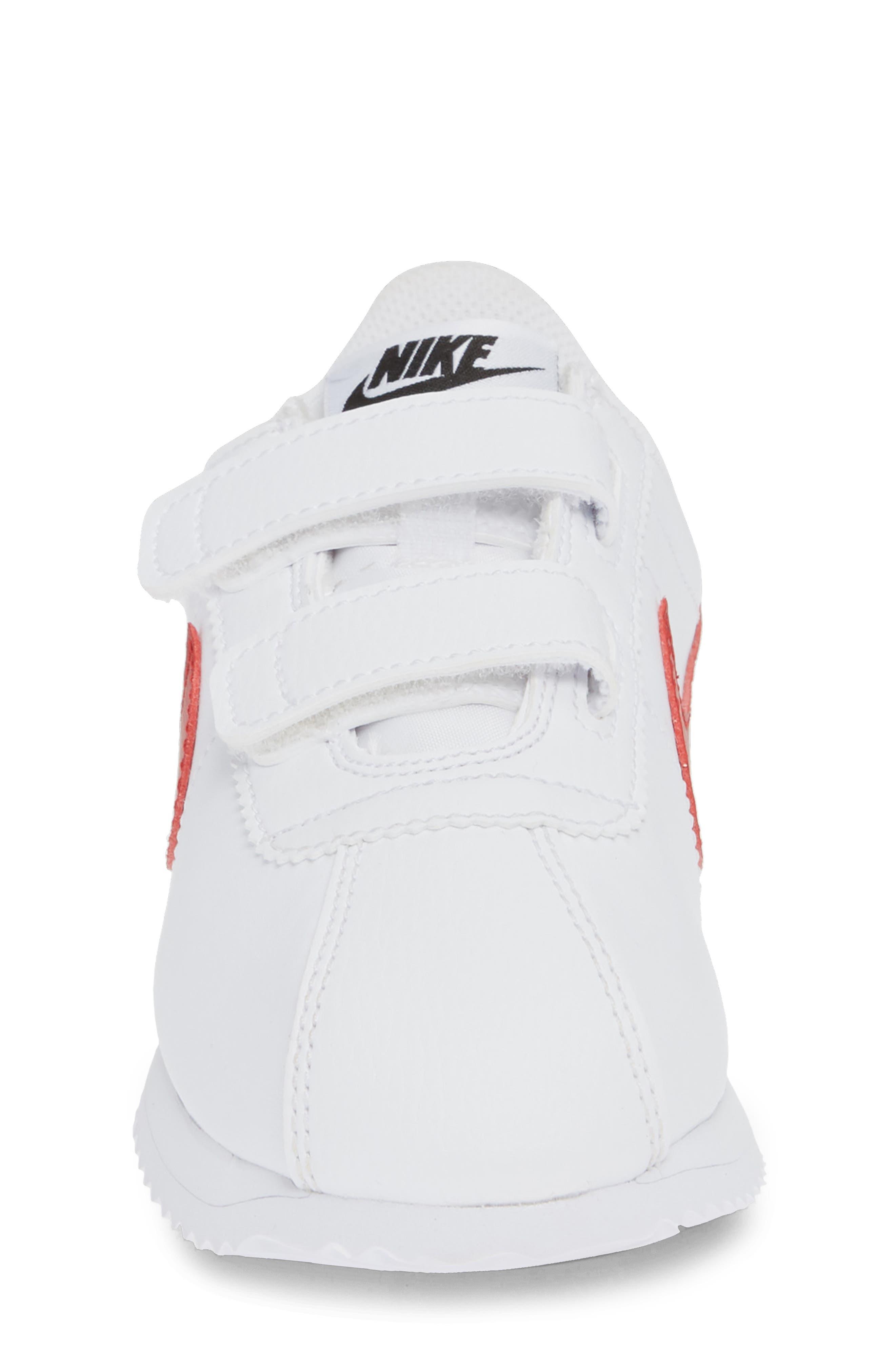 NIKE, Cortez Basic SL Sneaker, Alternate thumbnail 4, color, WHITE/ VARSITY RED/ BLACK